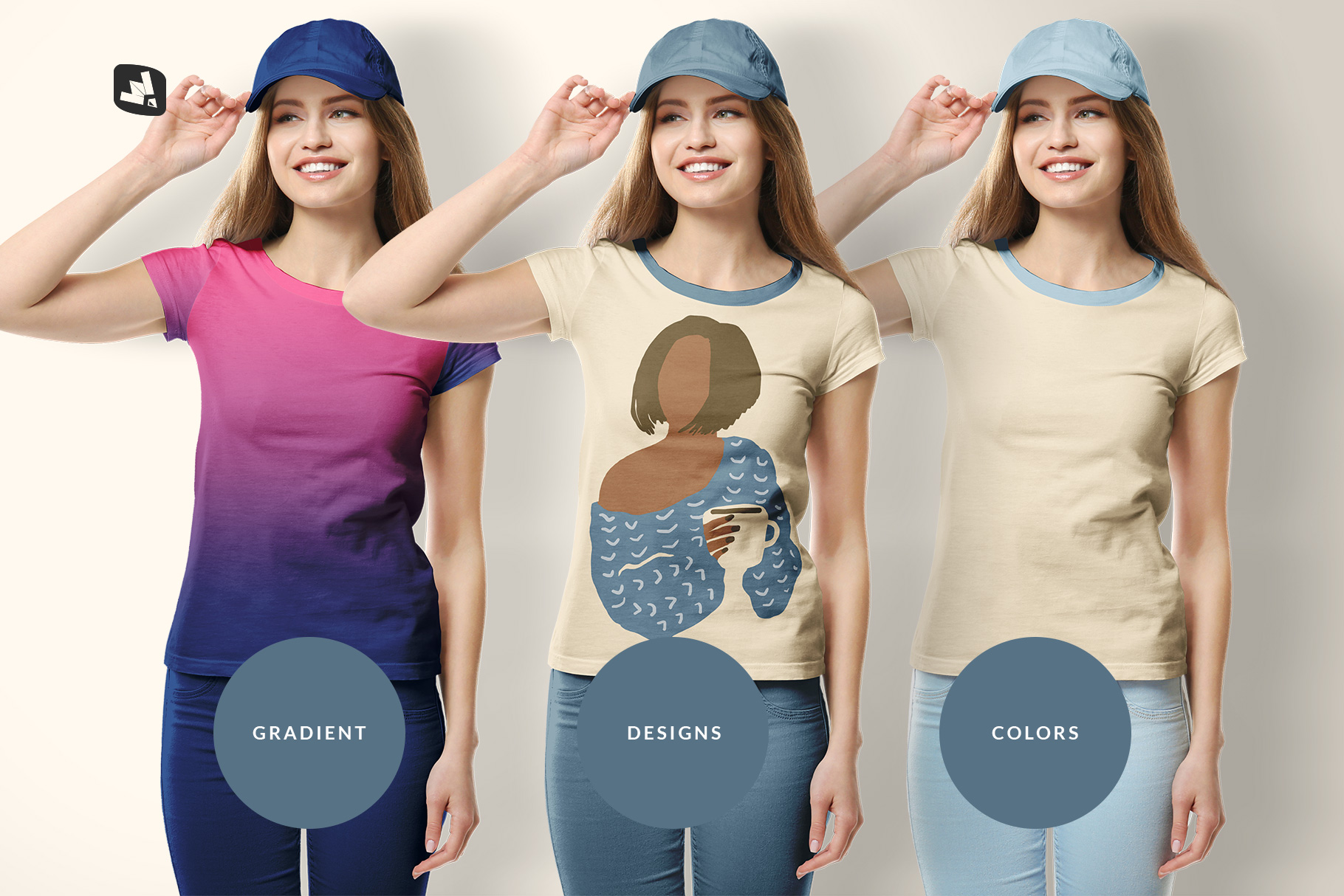 types of the women's tshirt with cap mockup