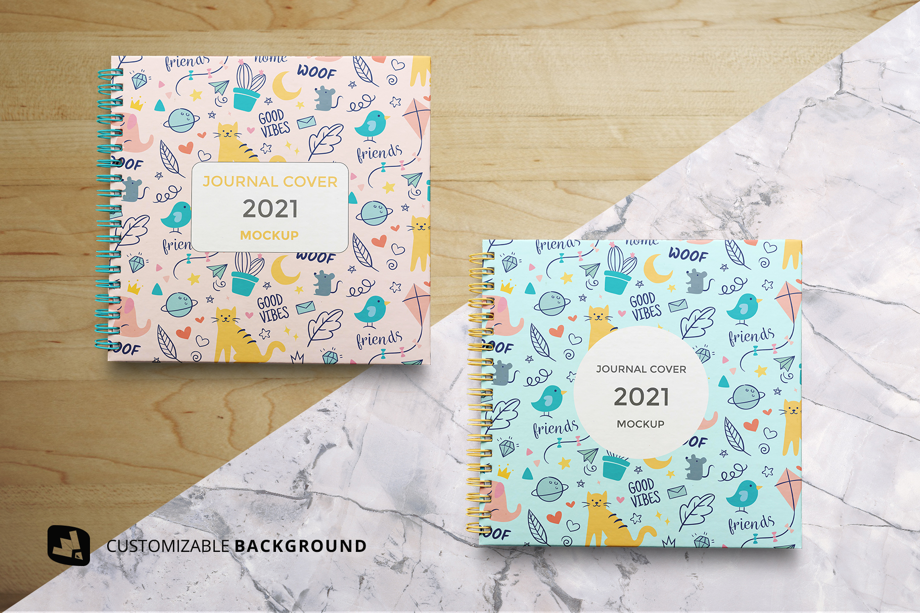 background options of the top view spiral journal cover mockup