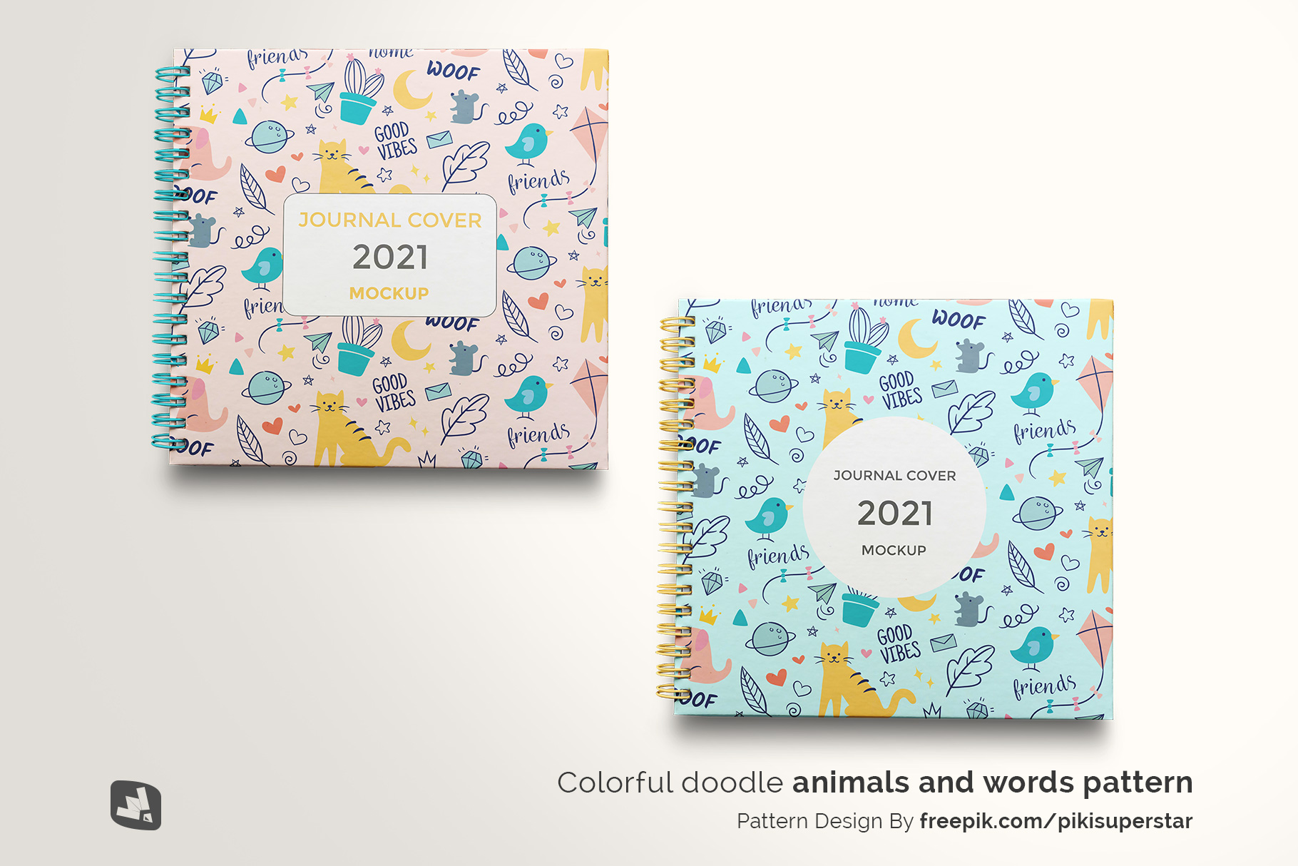 designer's credit of the top view spiral journal cover mockup