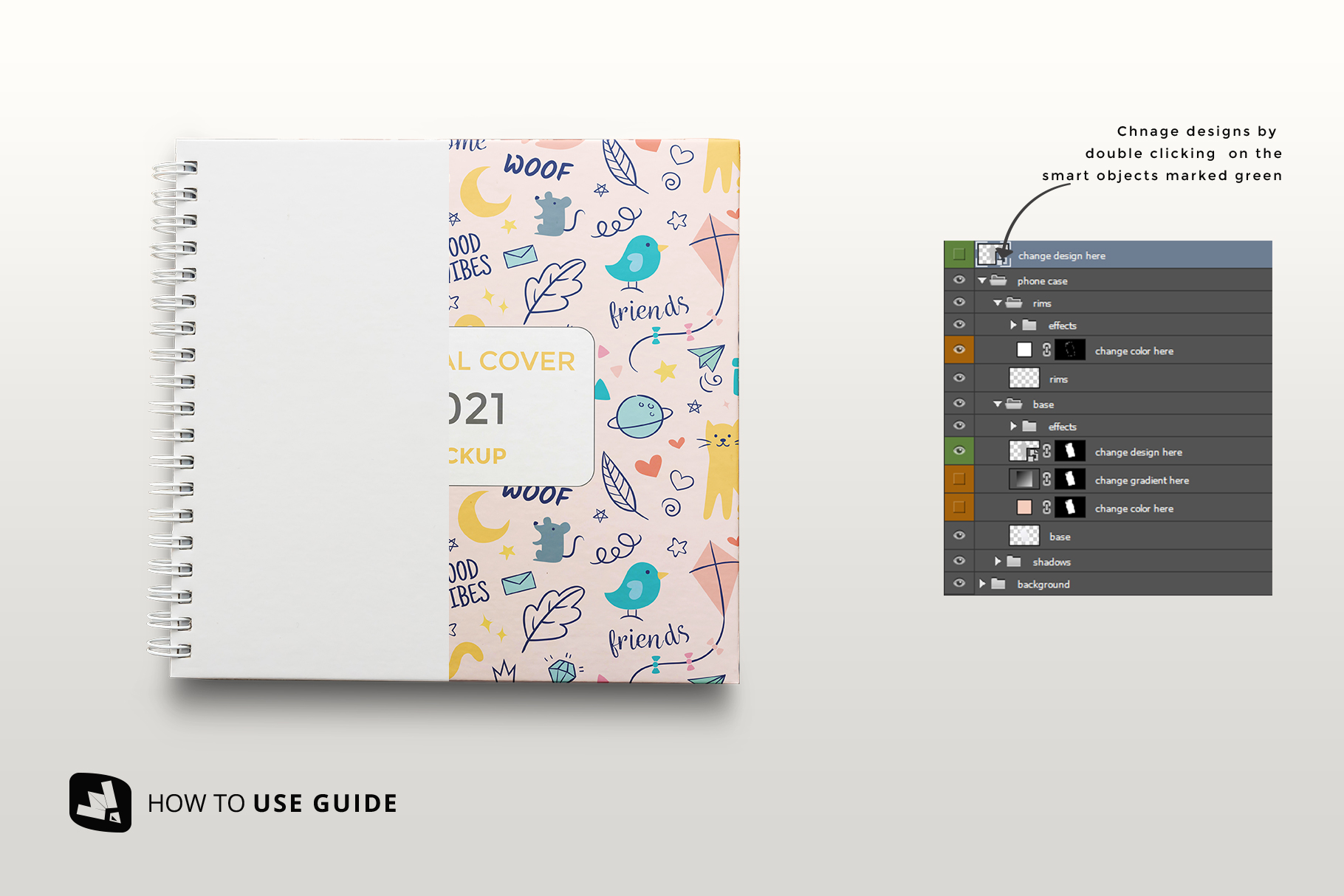 how to change design of the top view spiral journal cover mockup