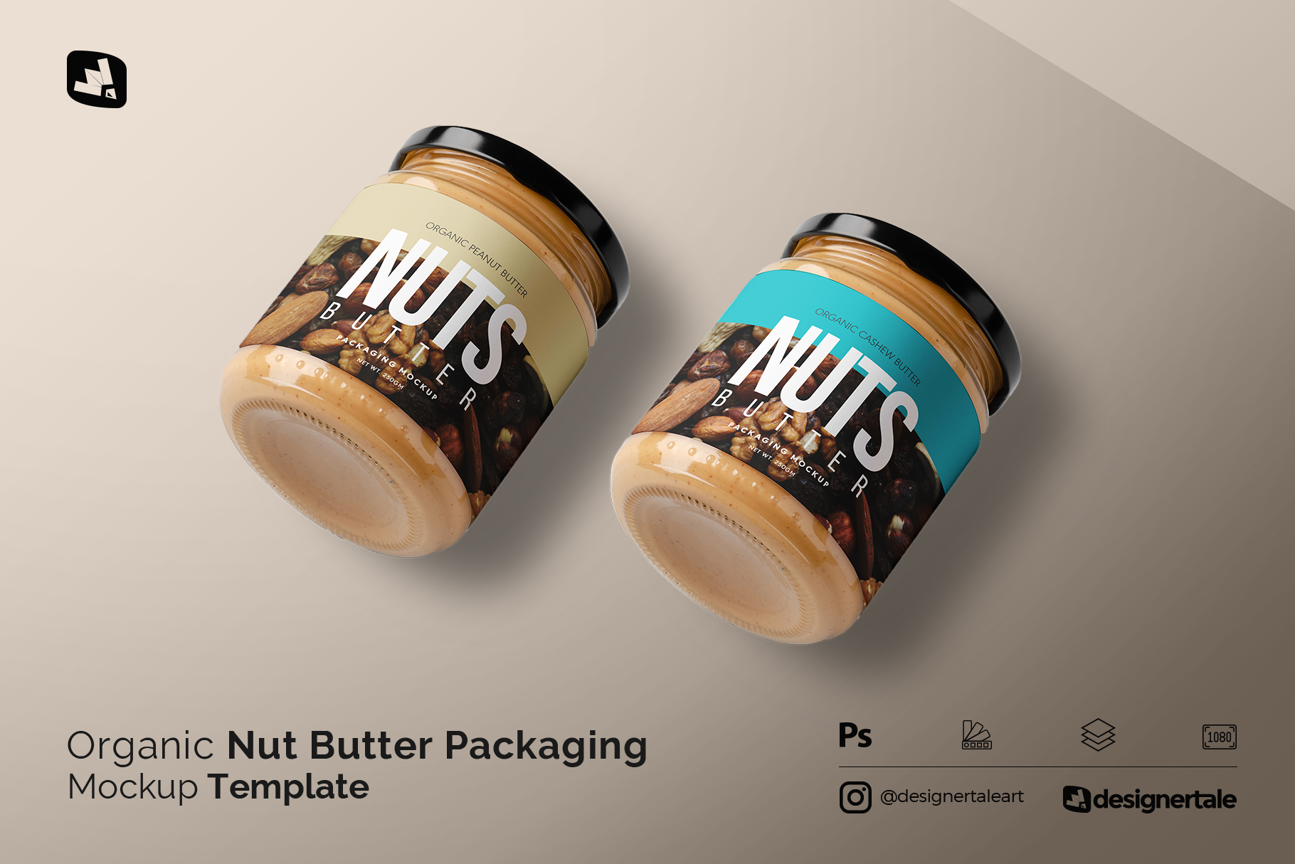 organic nut butter packaging mockup