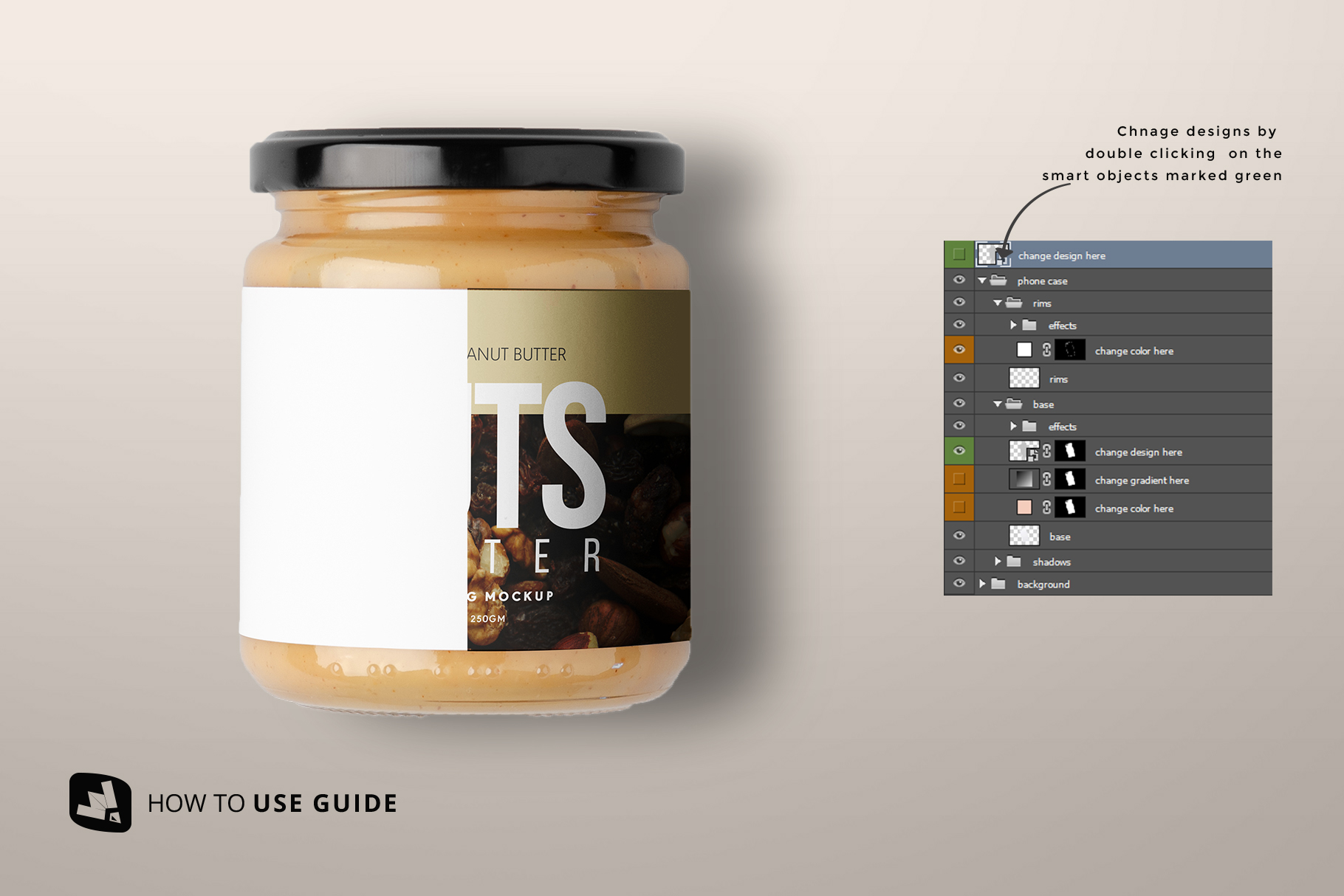 how to change label design of the organic nut butter packaging mockup