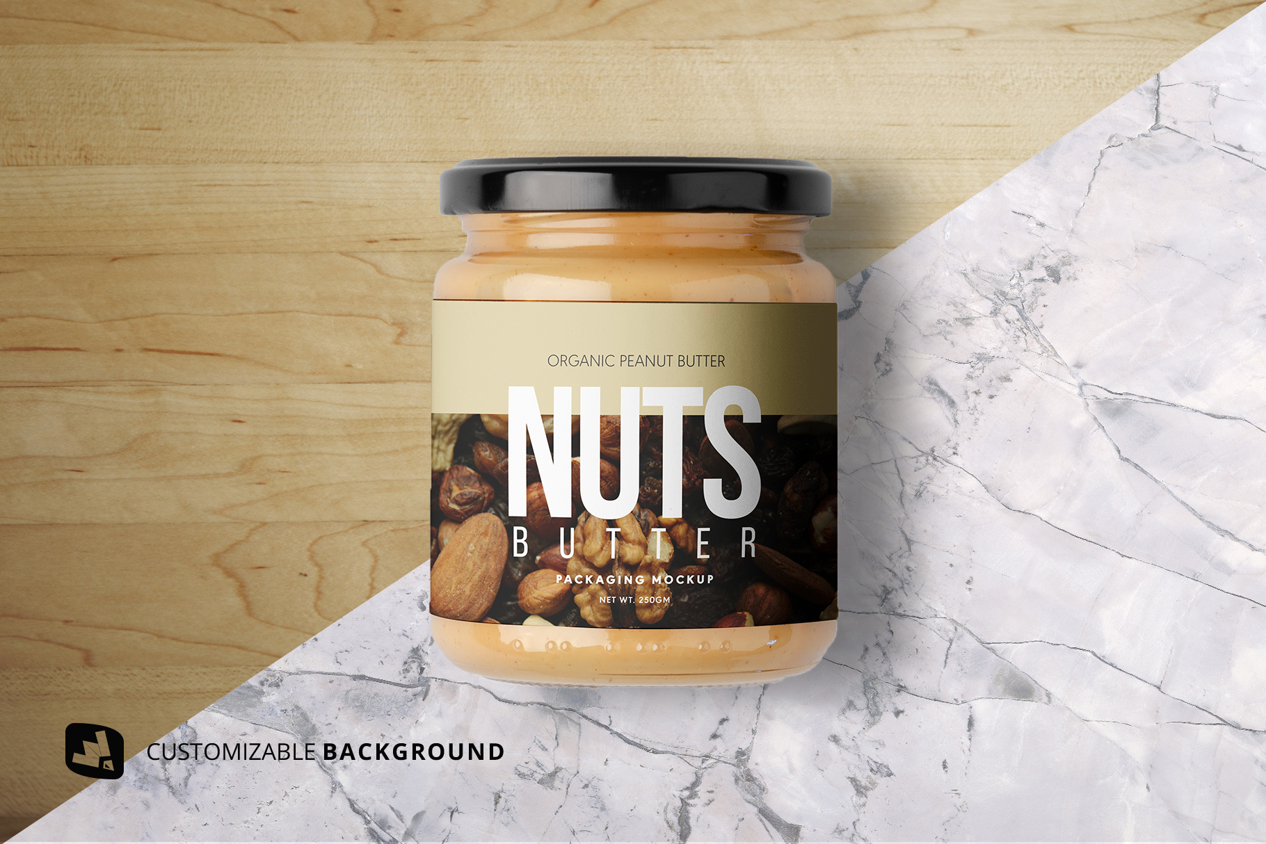 background options of the organic nut butter packaging mockup