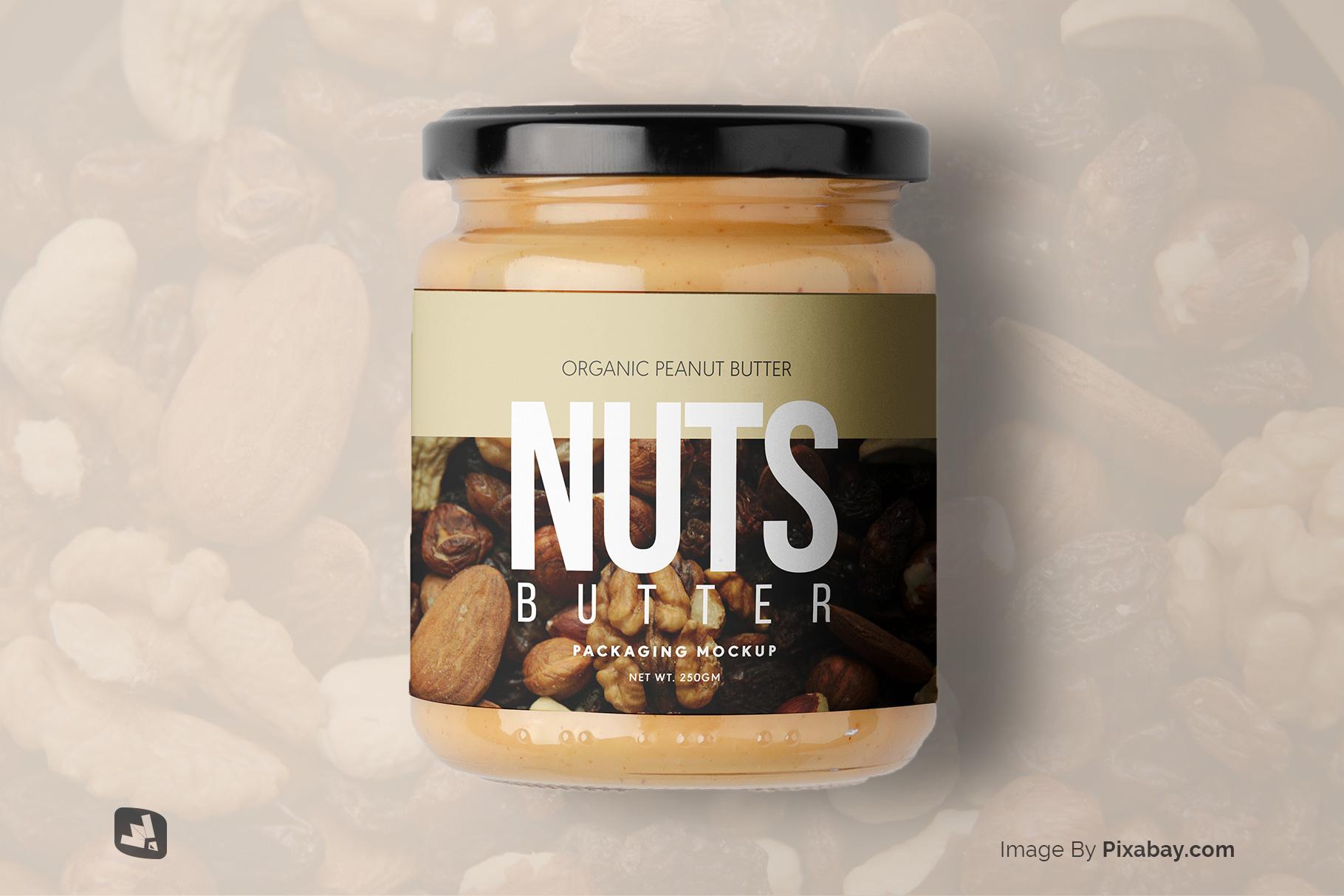 designer's credit of the organic nut butter packaging mockup