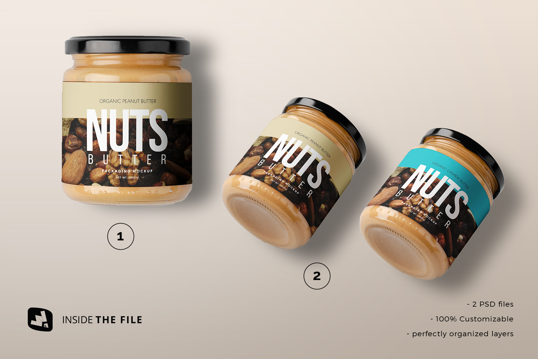files included in the organic nut butter packaging mockup