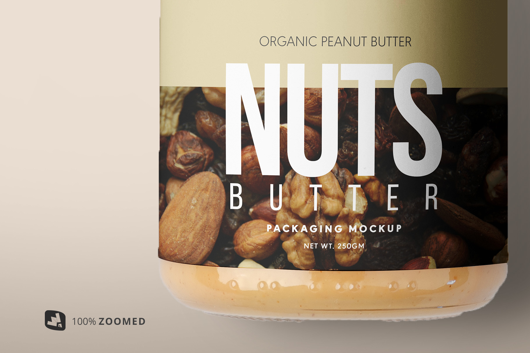 zoomed in image of the organic nut butter packaging mockup