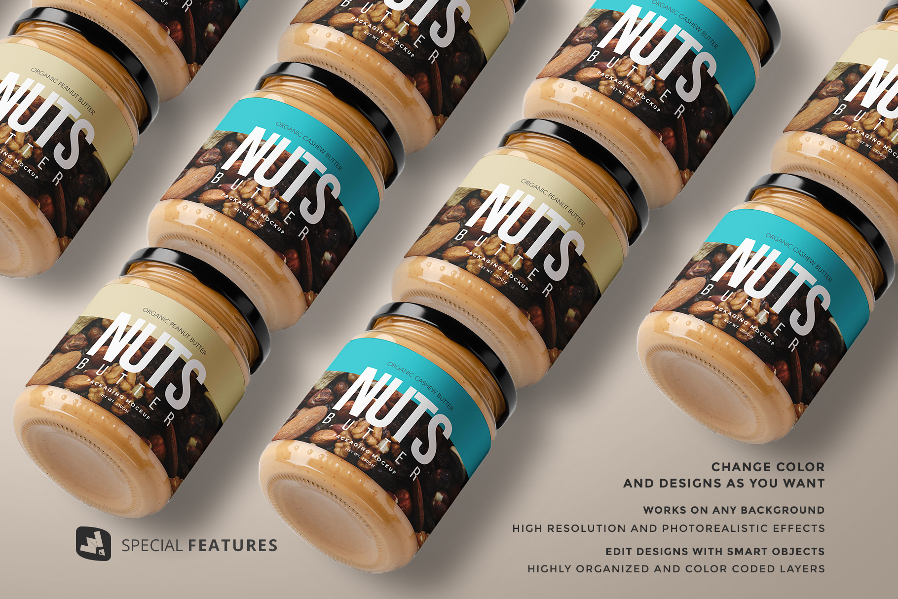 features of the organic nut butter packaging mockup