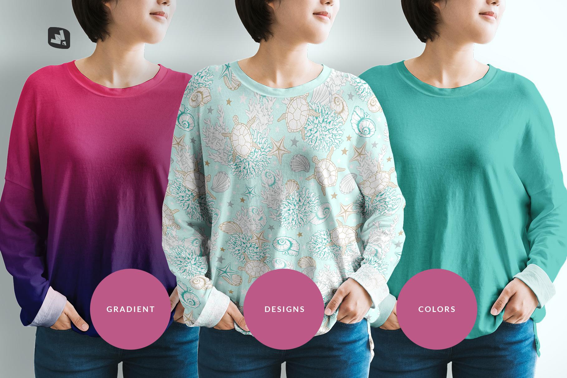 types of the women's full sleeve tshirt mockup