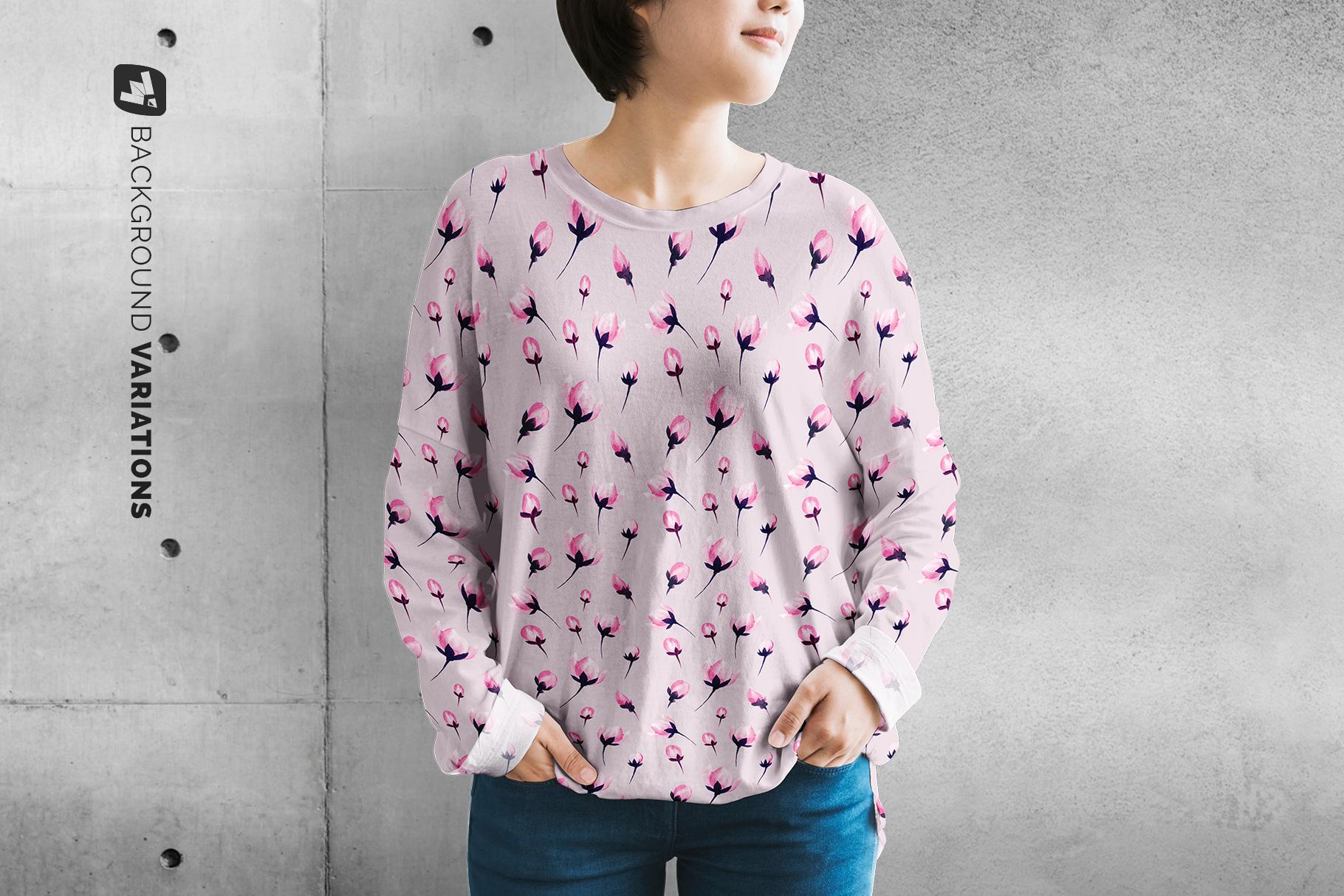 background options of the women's full sleeve tshirt mockup