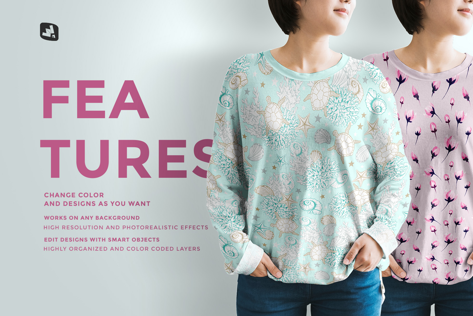 features of the women's full sleeve tshirt mockup