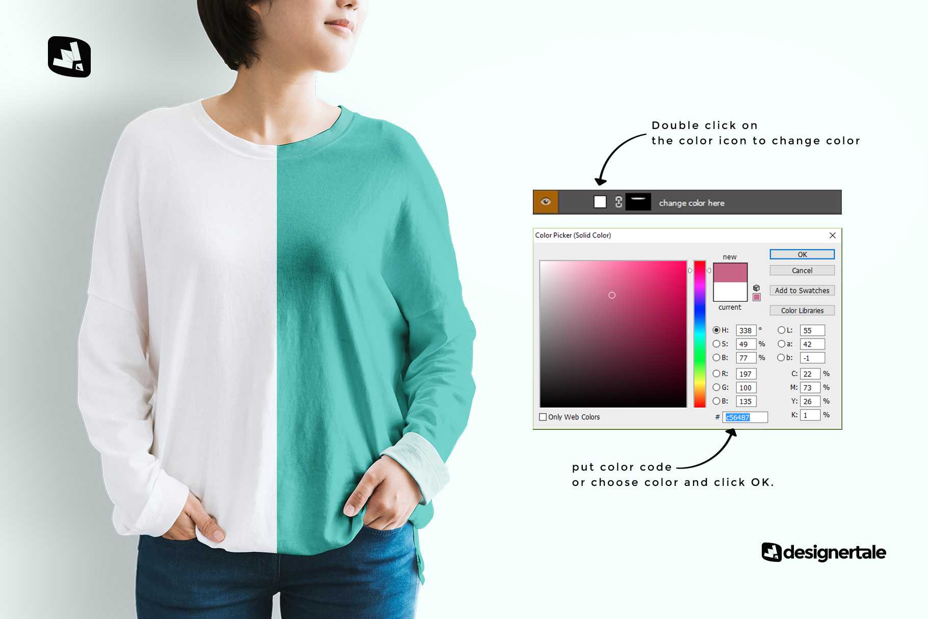 how to change color of the women's full sleeve tshirt mockup
