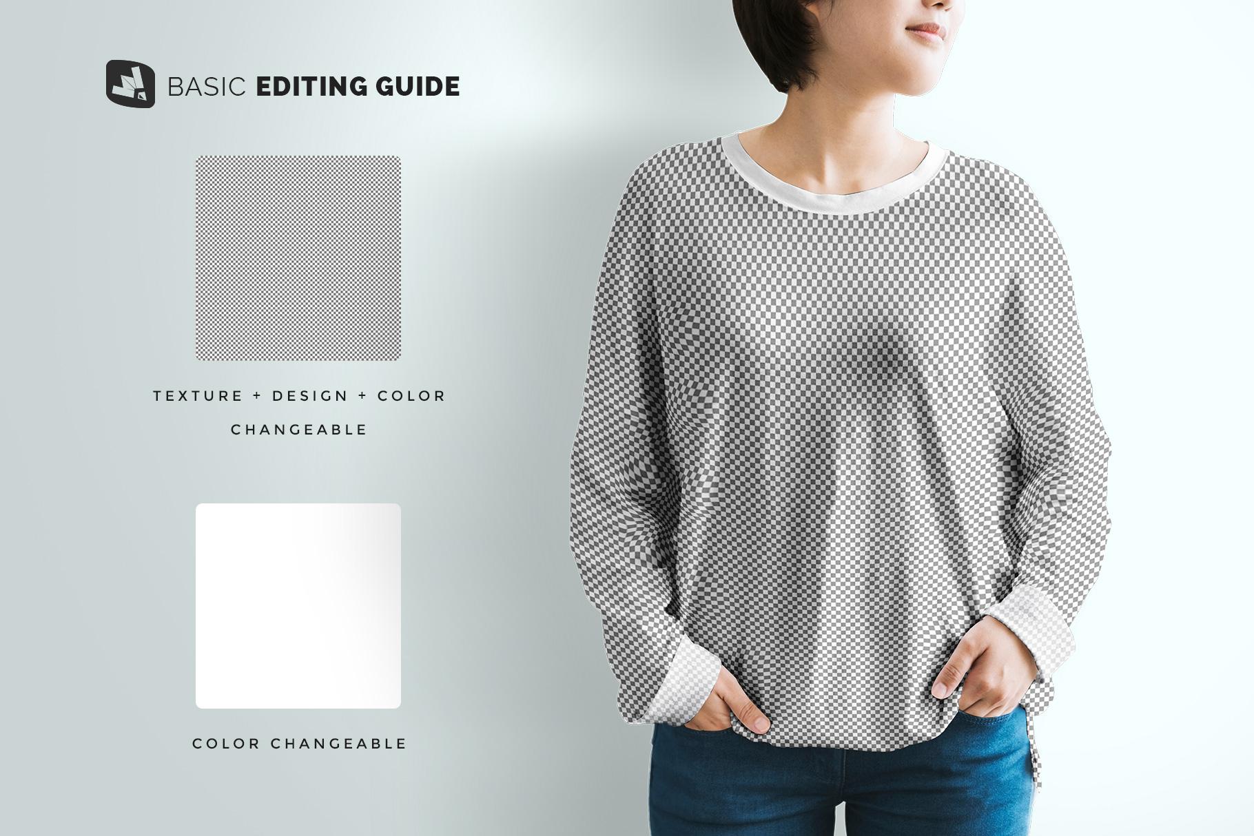 editability of the women's full sleeve tshirt mockup