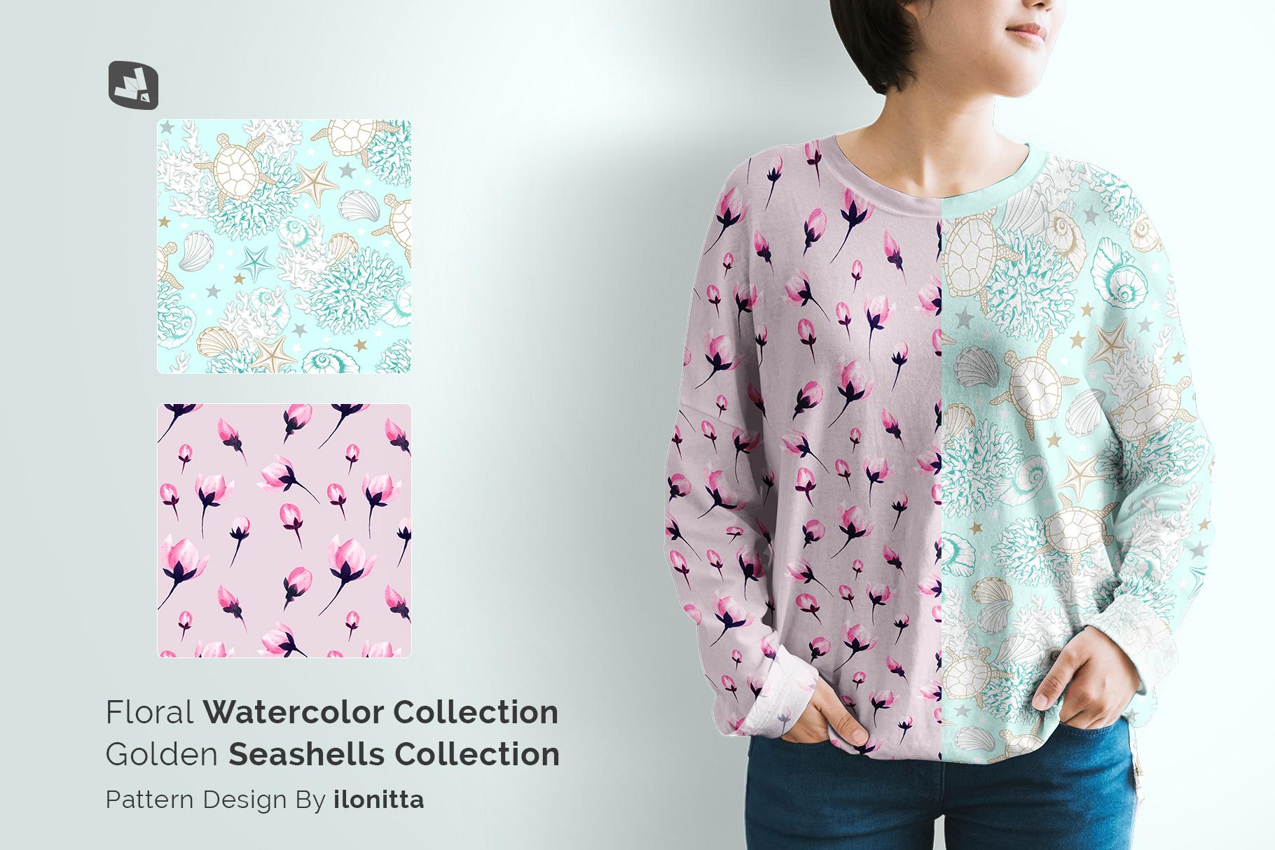 designer's credit of the women's full sleeve tshirt mockup