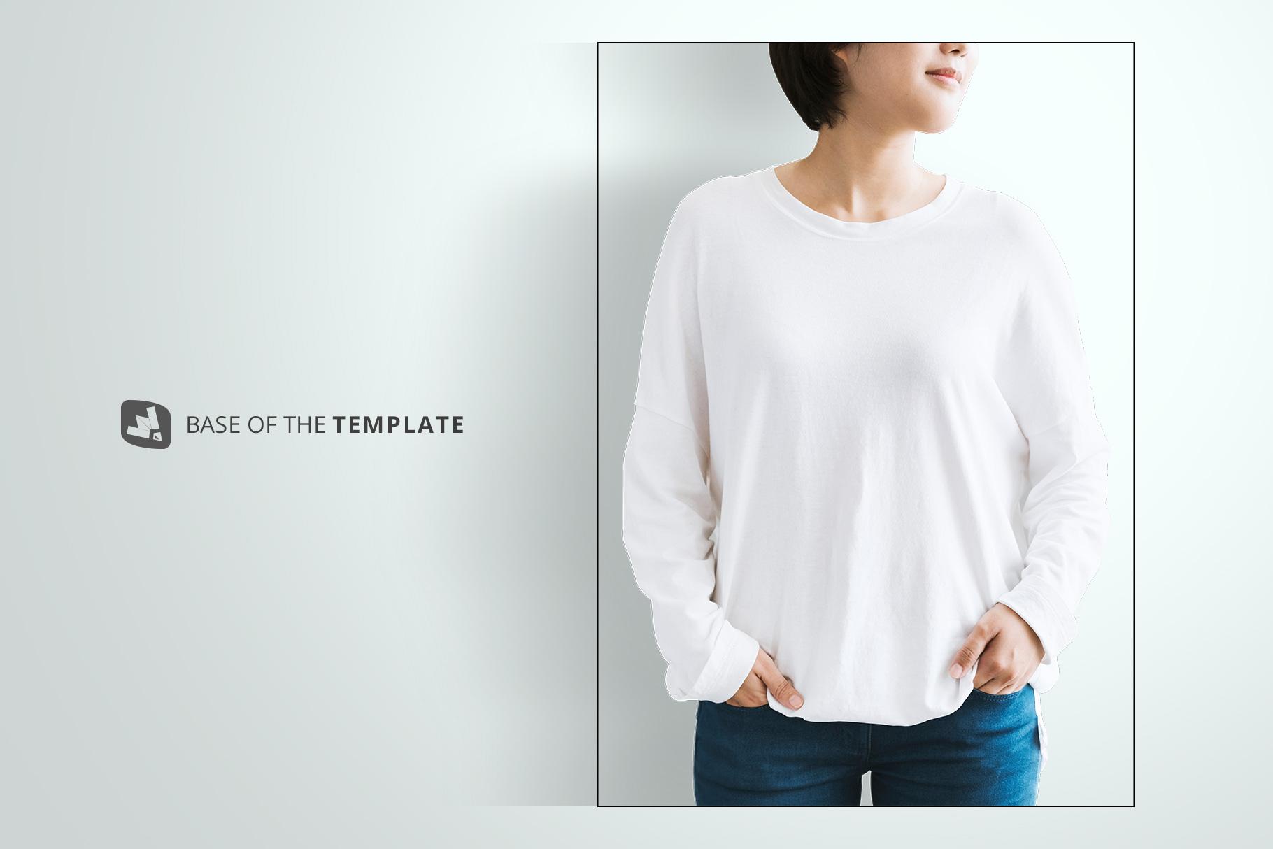 base image of the women's full sleeve tshirt mockup