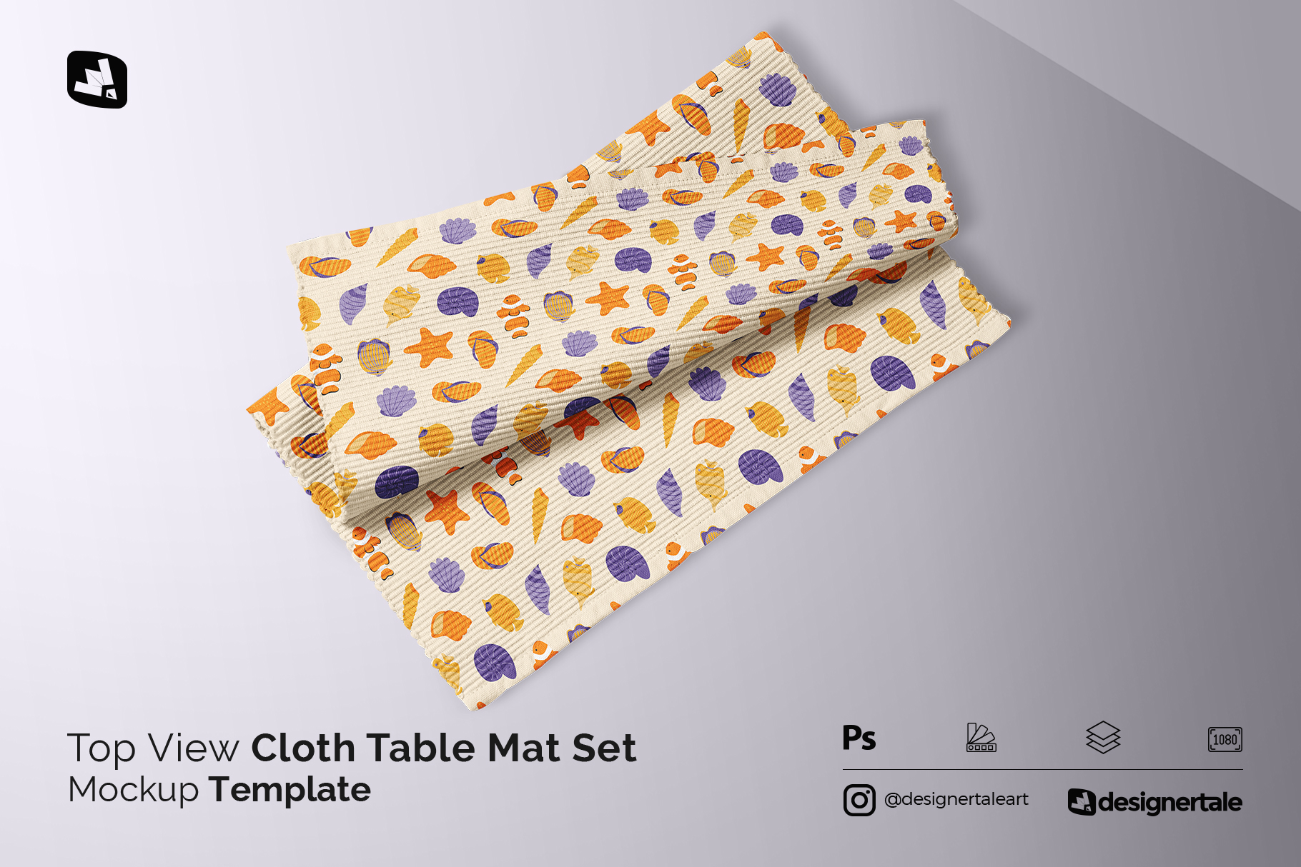 top view cloth table mat set mockup