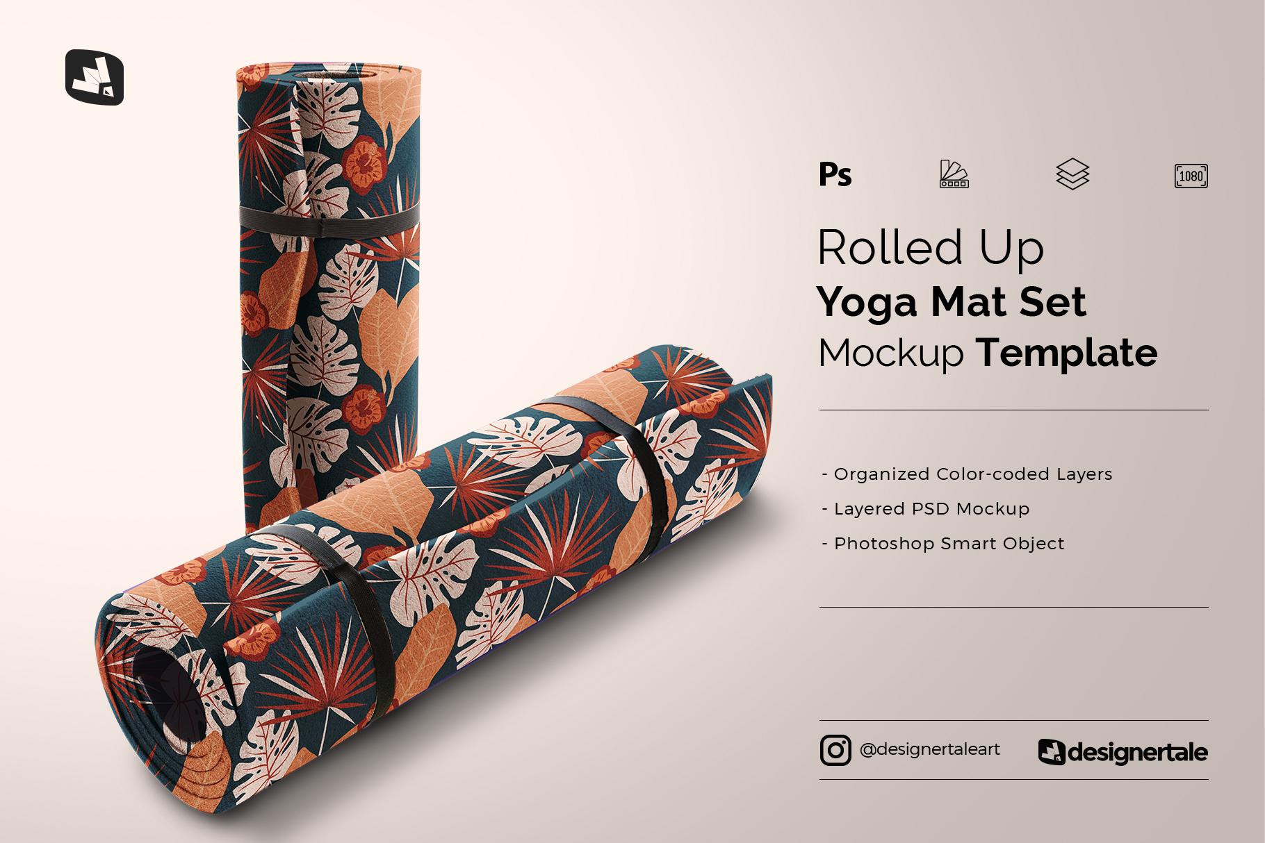 rolled up yoga mat set mockup
