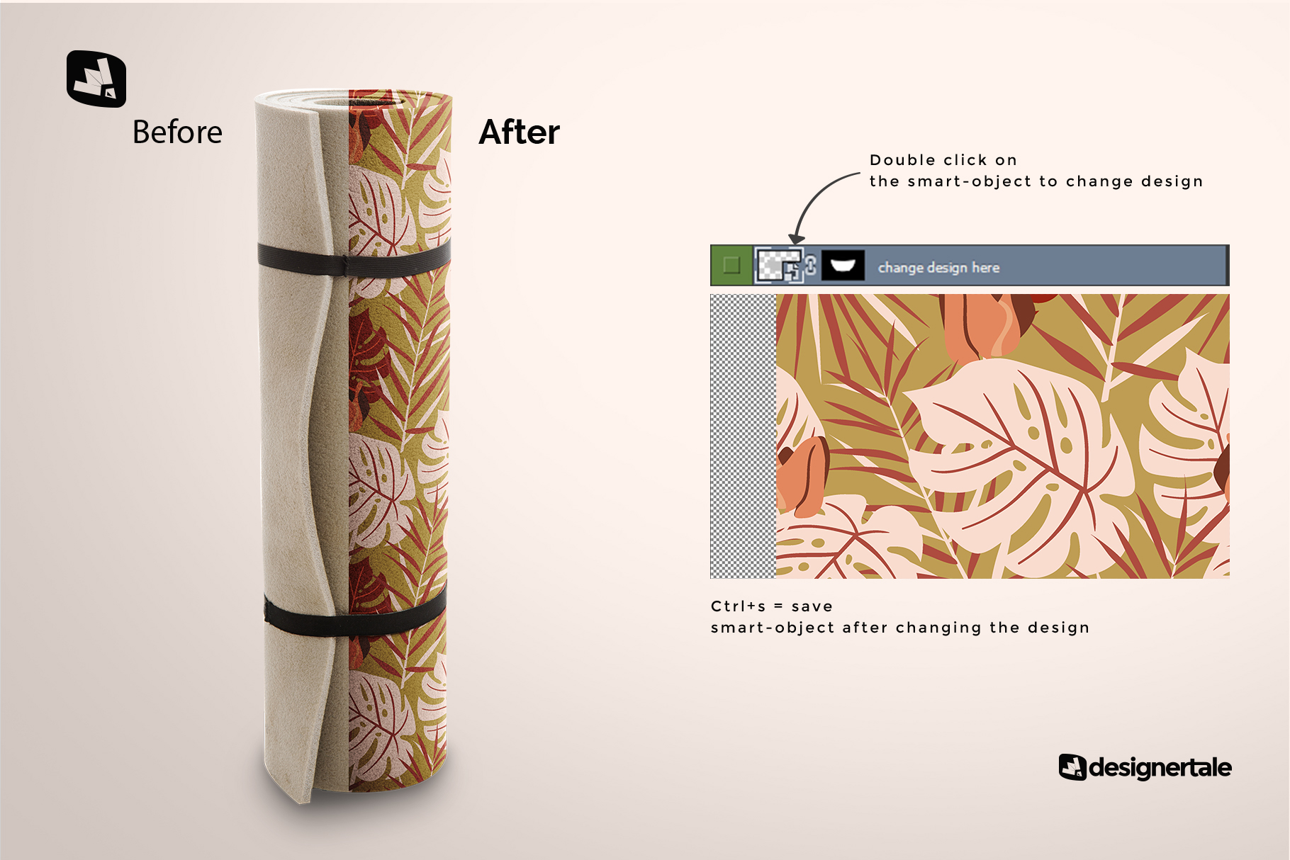 how to change design of the rolled up yoga mat set mockup