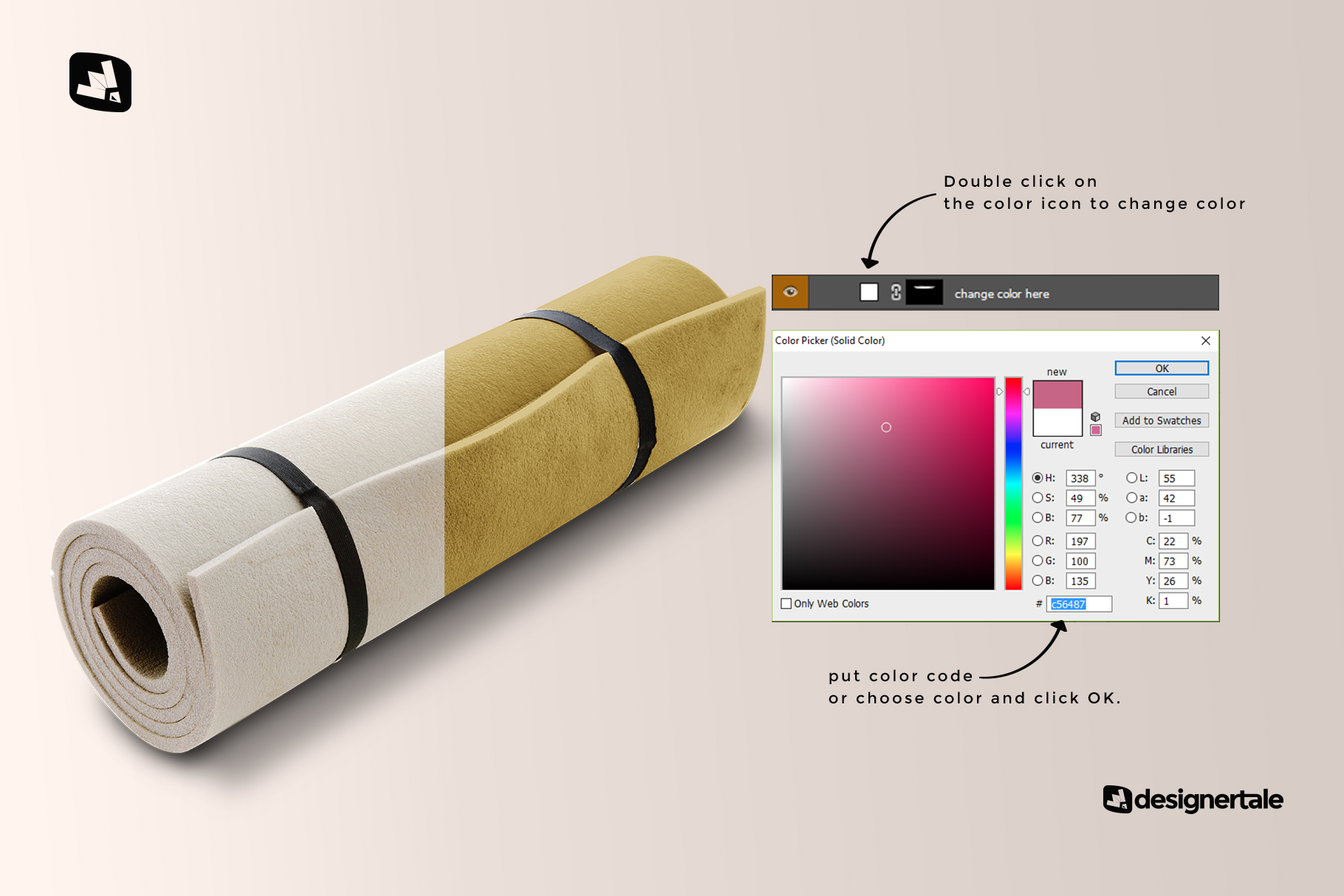 how to change color of the rolled up yoga mat set mockup