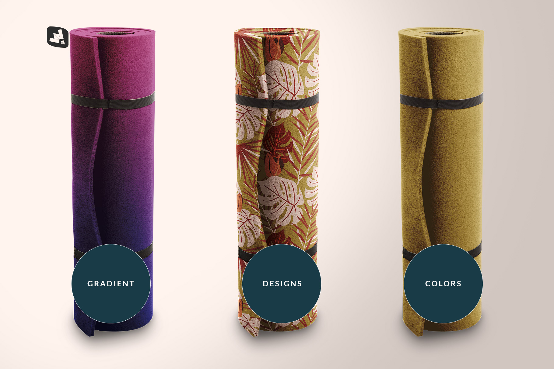 types of the rolled up yoga mat set mockup