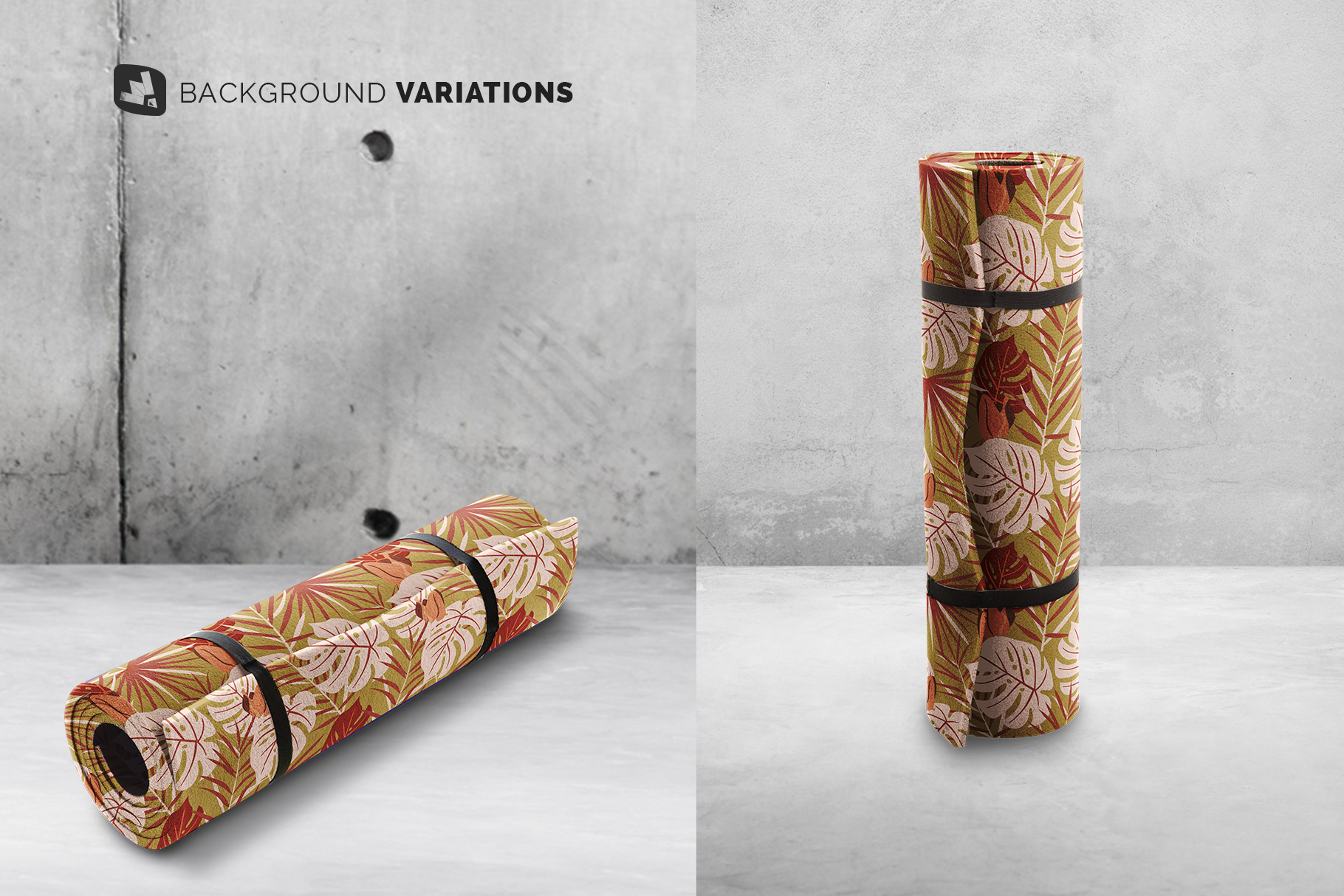 background options of the rolled up yoga mat set mockup