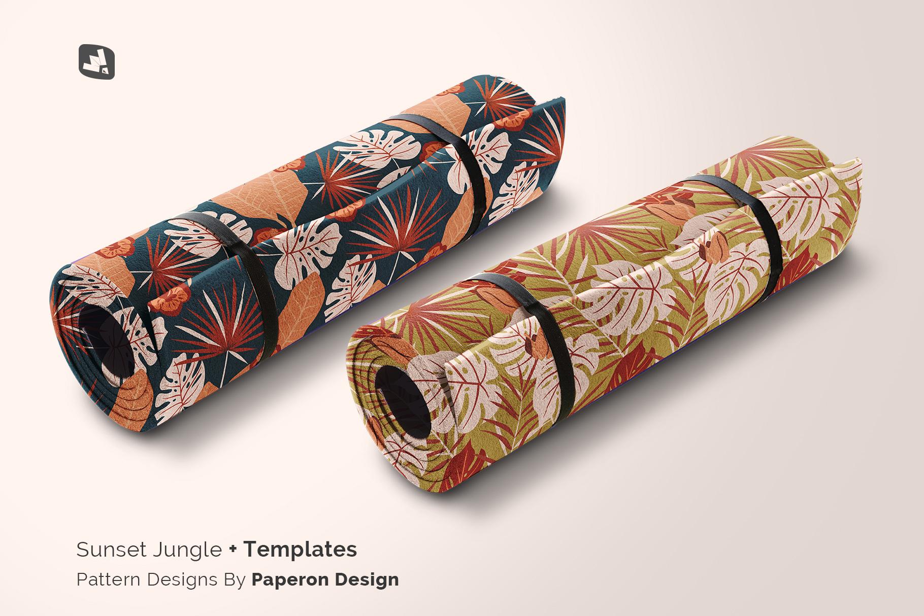 designer's credit of the rolled up yoga mat set mockup
