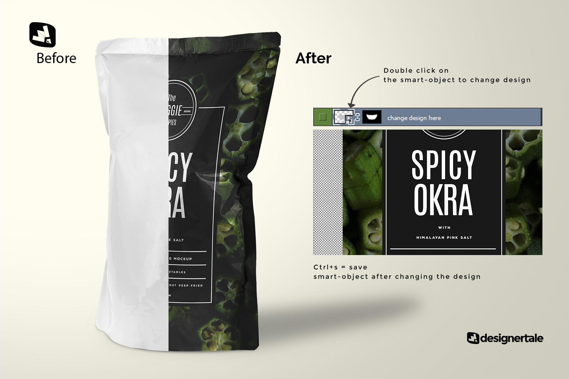 how to change label design of the doypack snacks packaging mockup