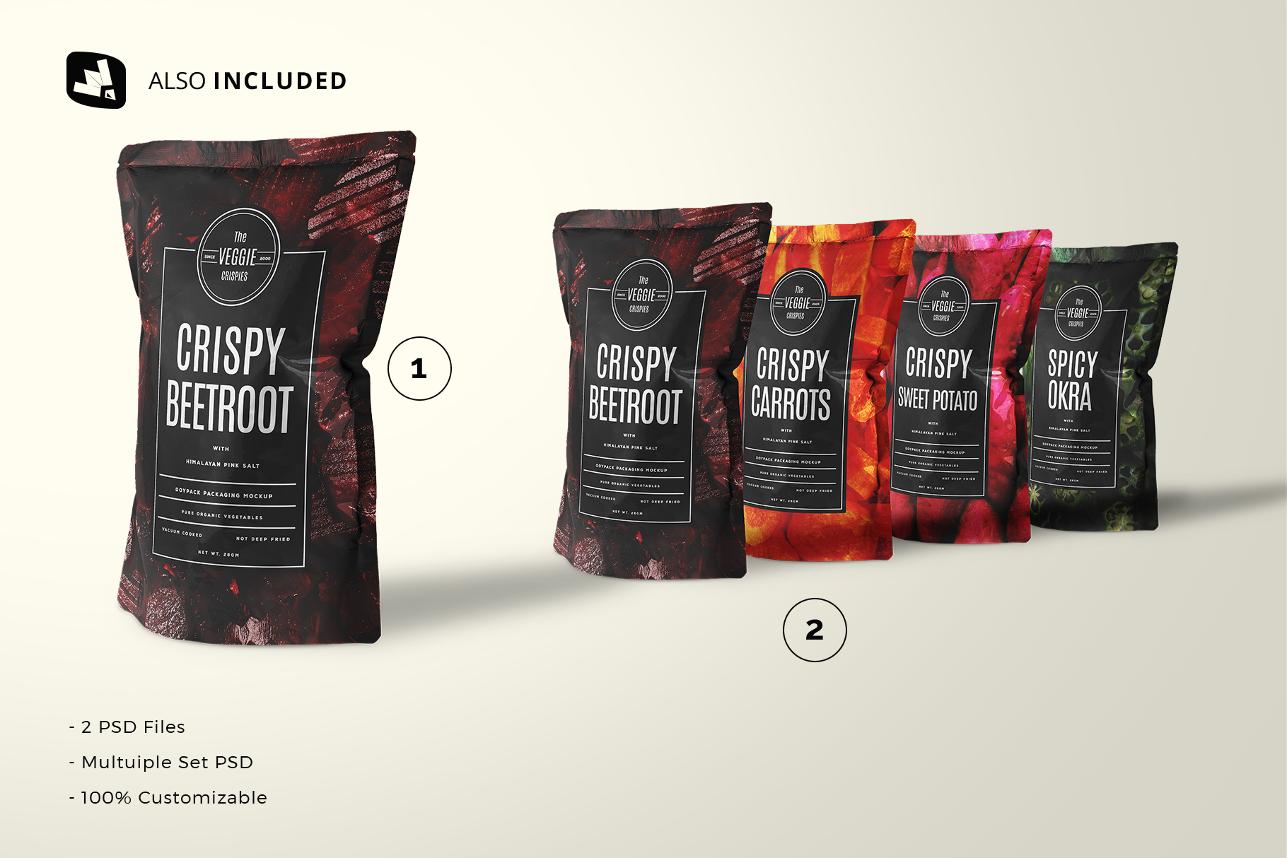 files included in the doypack snacks packaging mockup