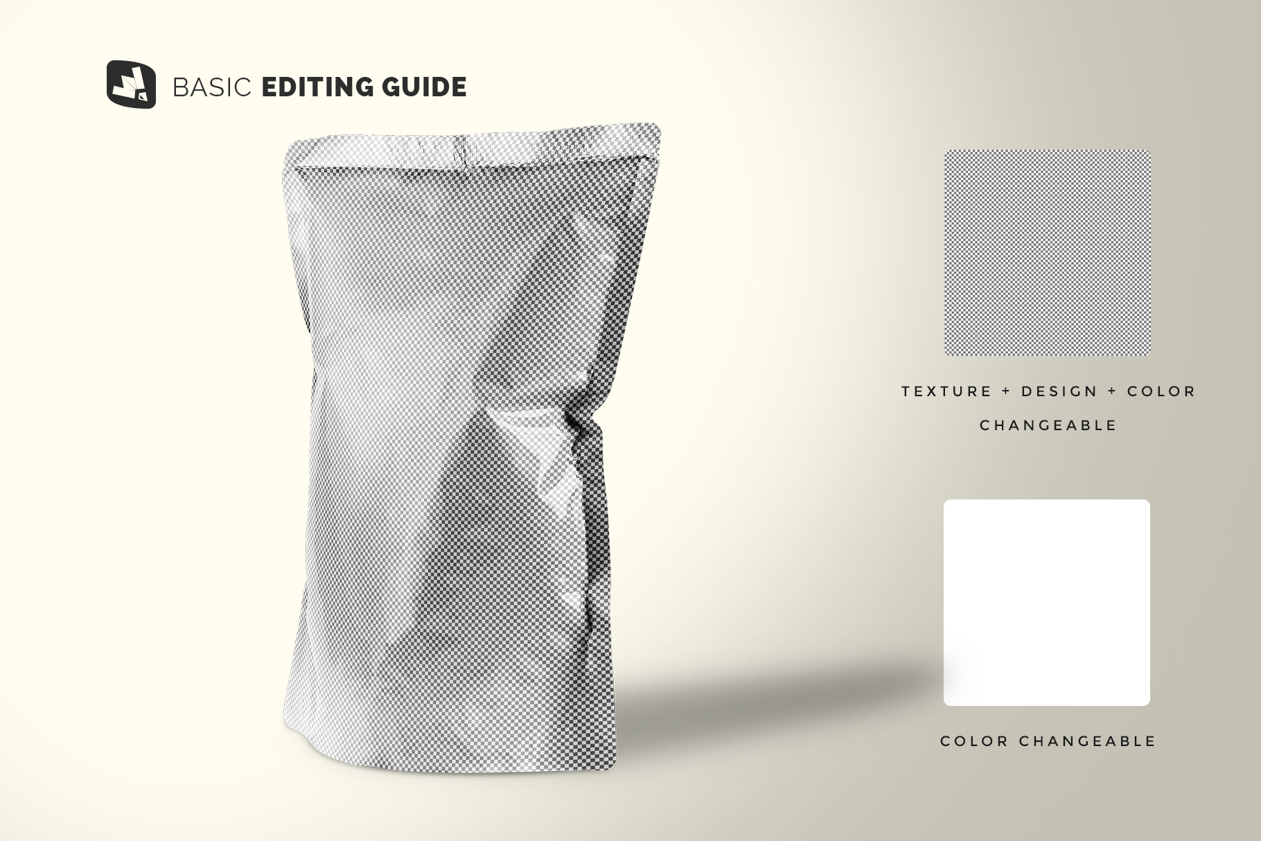 editability of the doypack snacks packaging mockup