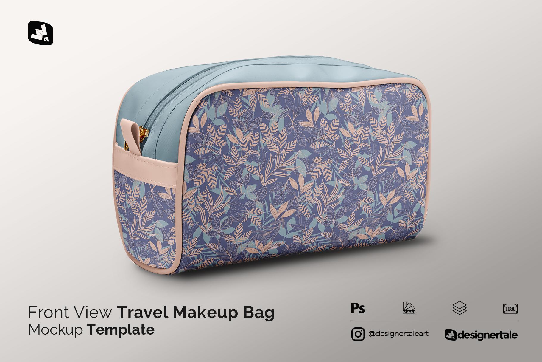 front view travel makeup bag mockup