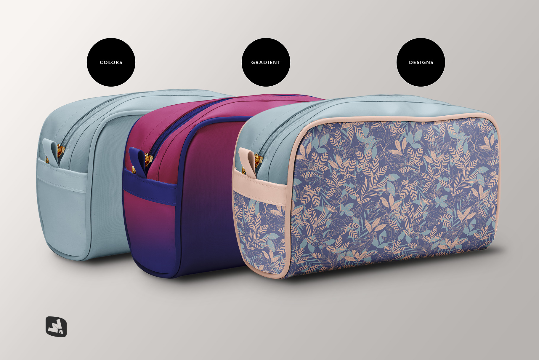 types of the front view travel makeup bag mockup