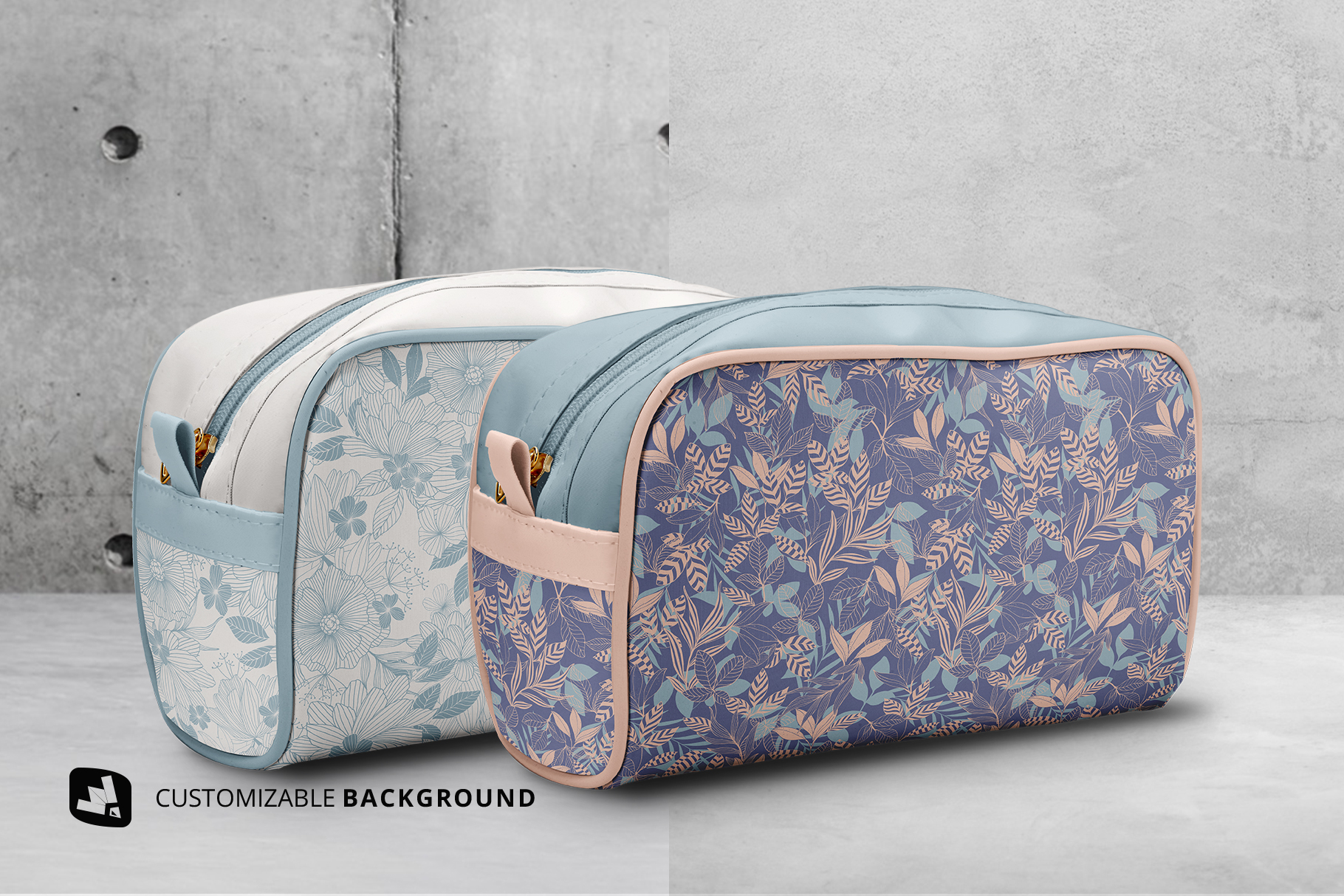 background options of the front view travel makeup bag mockup