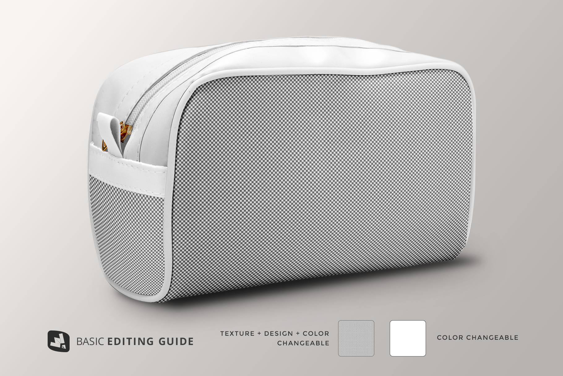 editability of the front view travel makeup bag mockup