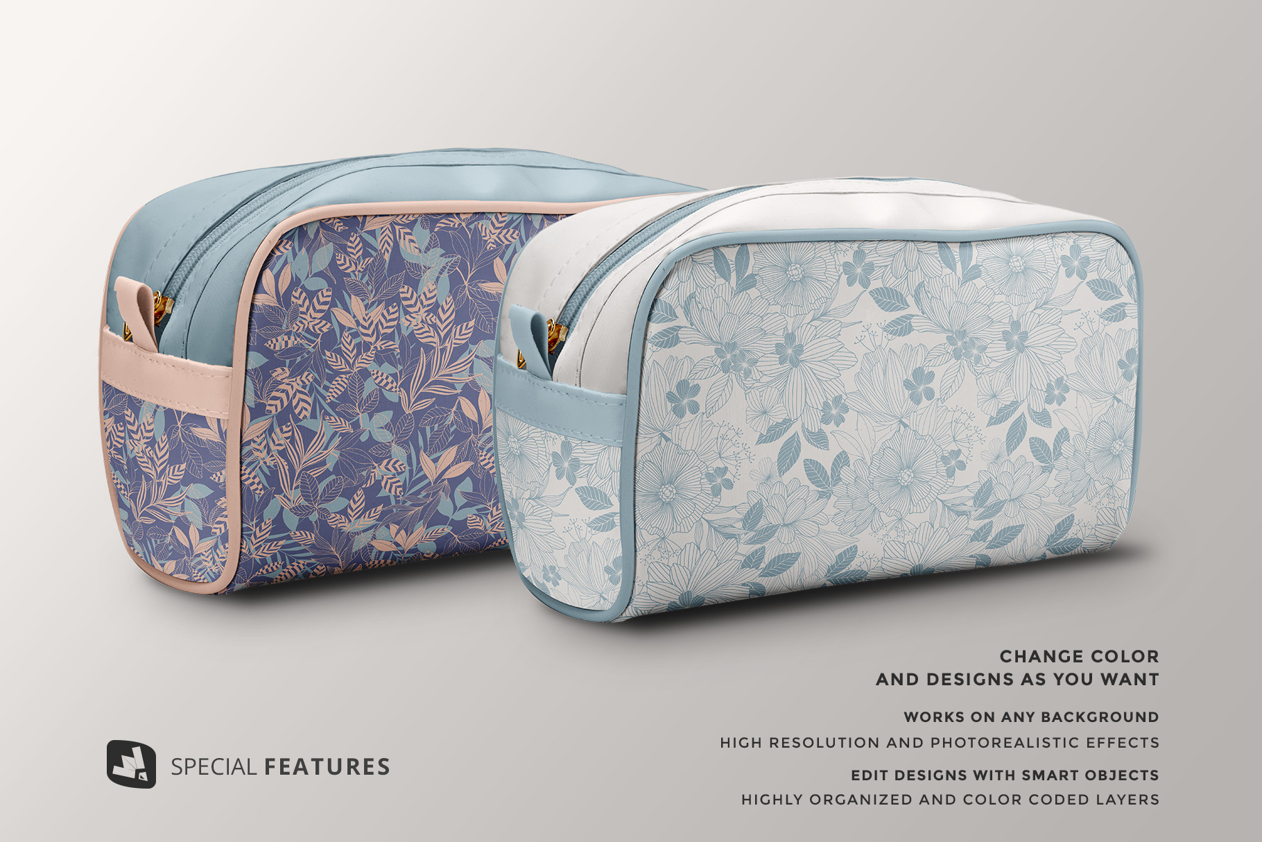designer's credit of the front view travel makeup bag mockup