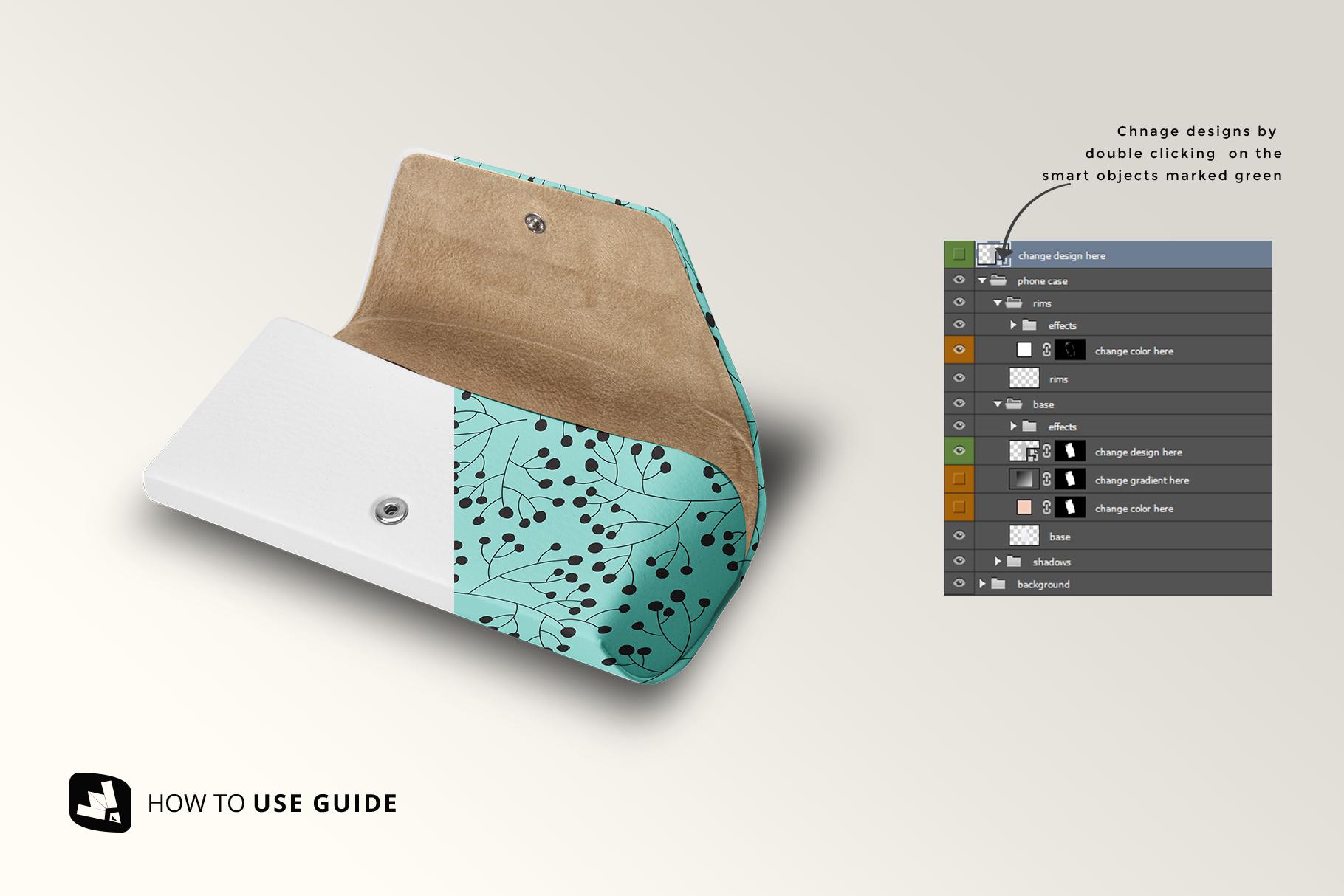 how to change design of the leather eyewear box mockup
