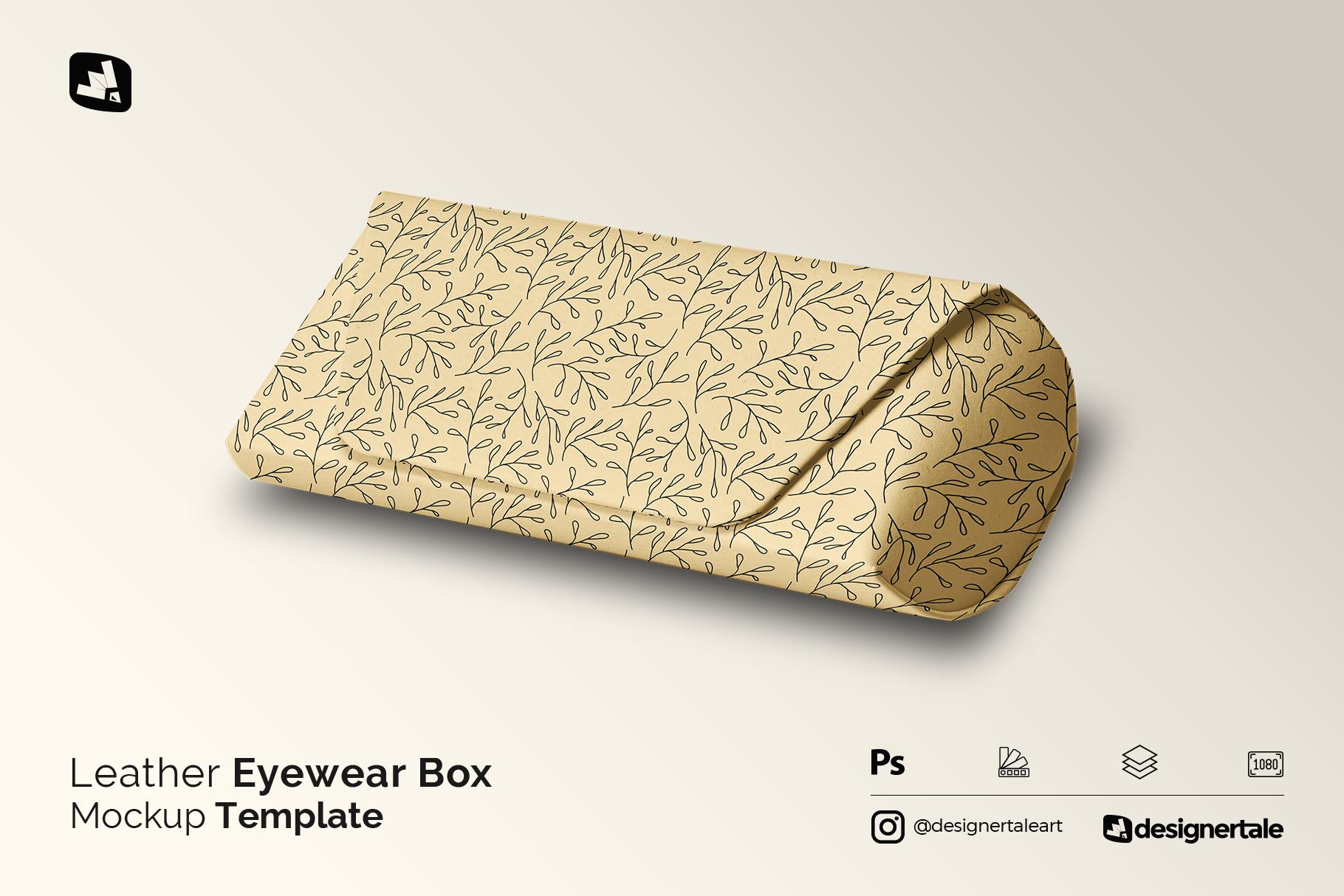 leather eyewear box mockup
