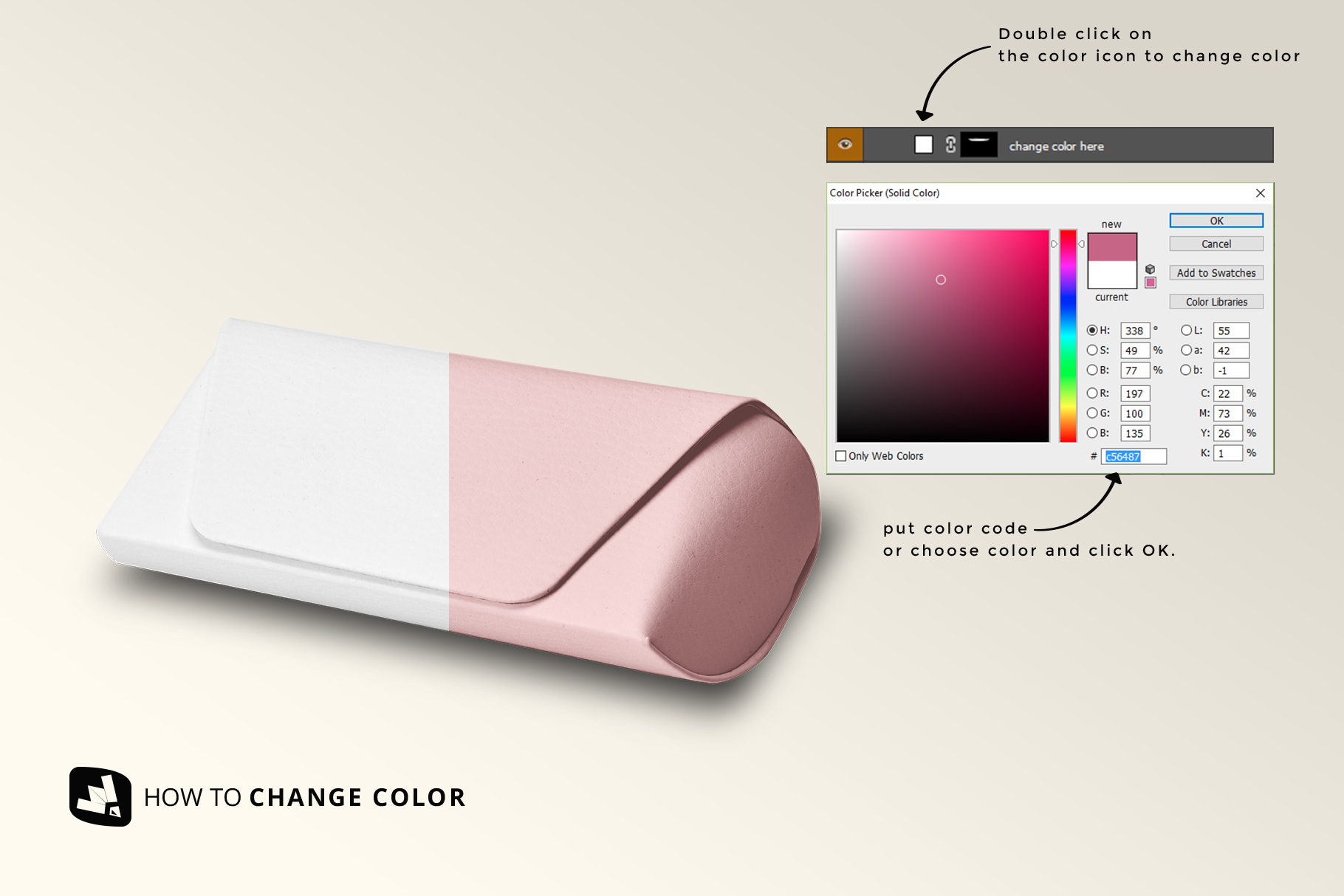 how to change color of the leather eyewear box mockup