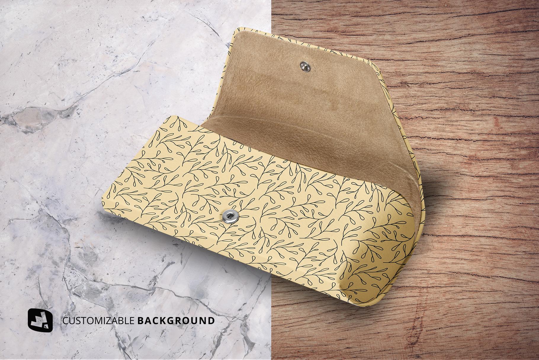 background options of the leather eyewear box mockup