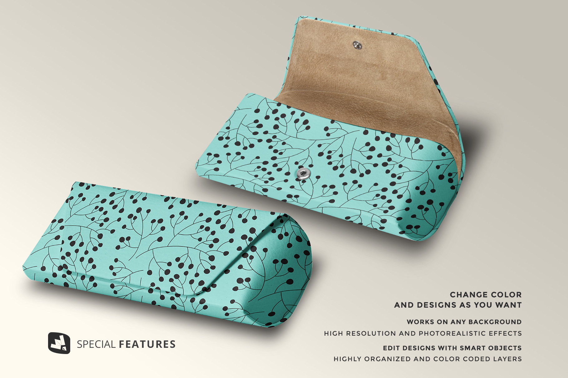 features of the leather eyewear box mockup