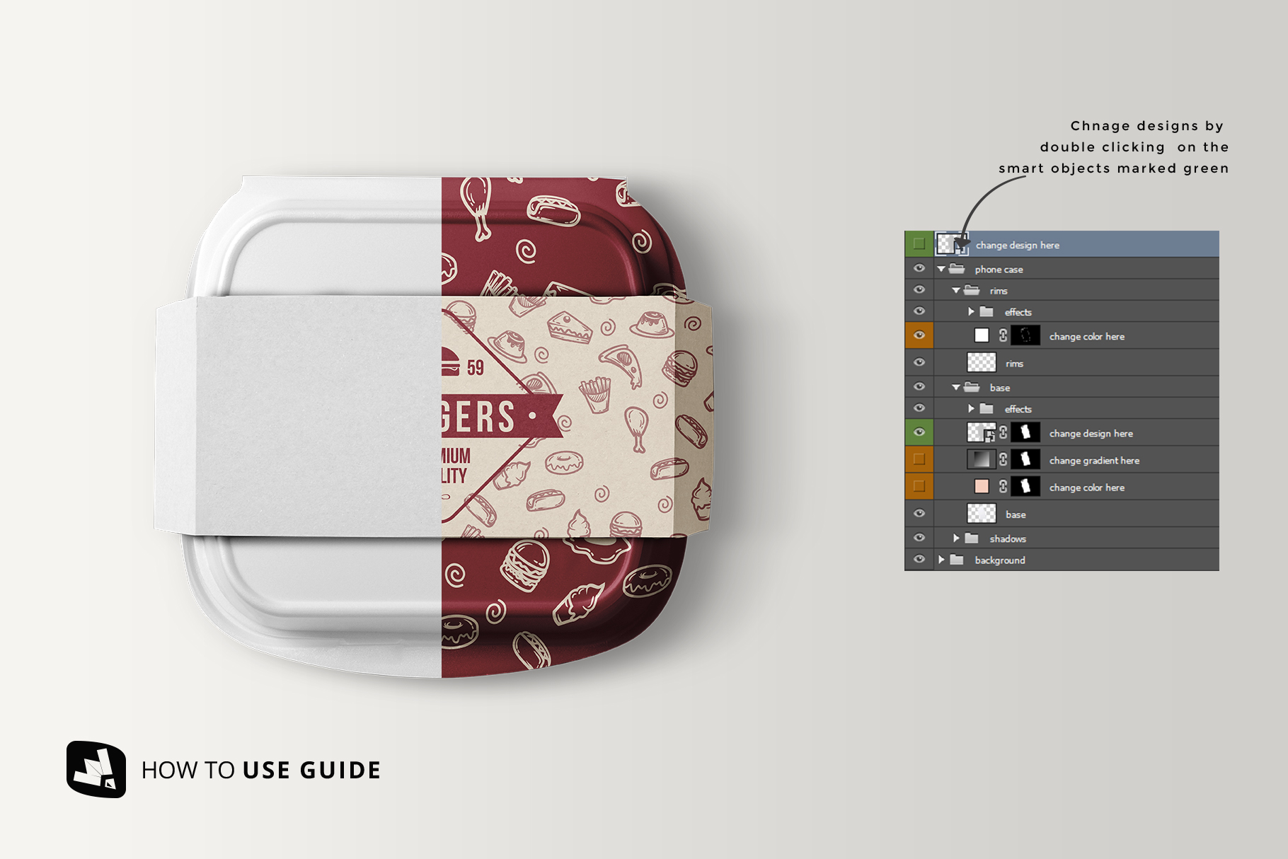 how to change label design of the fast food container packaging mockup