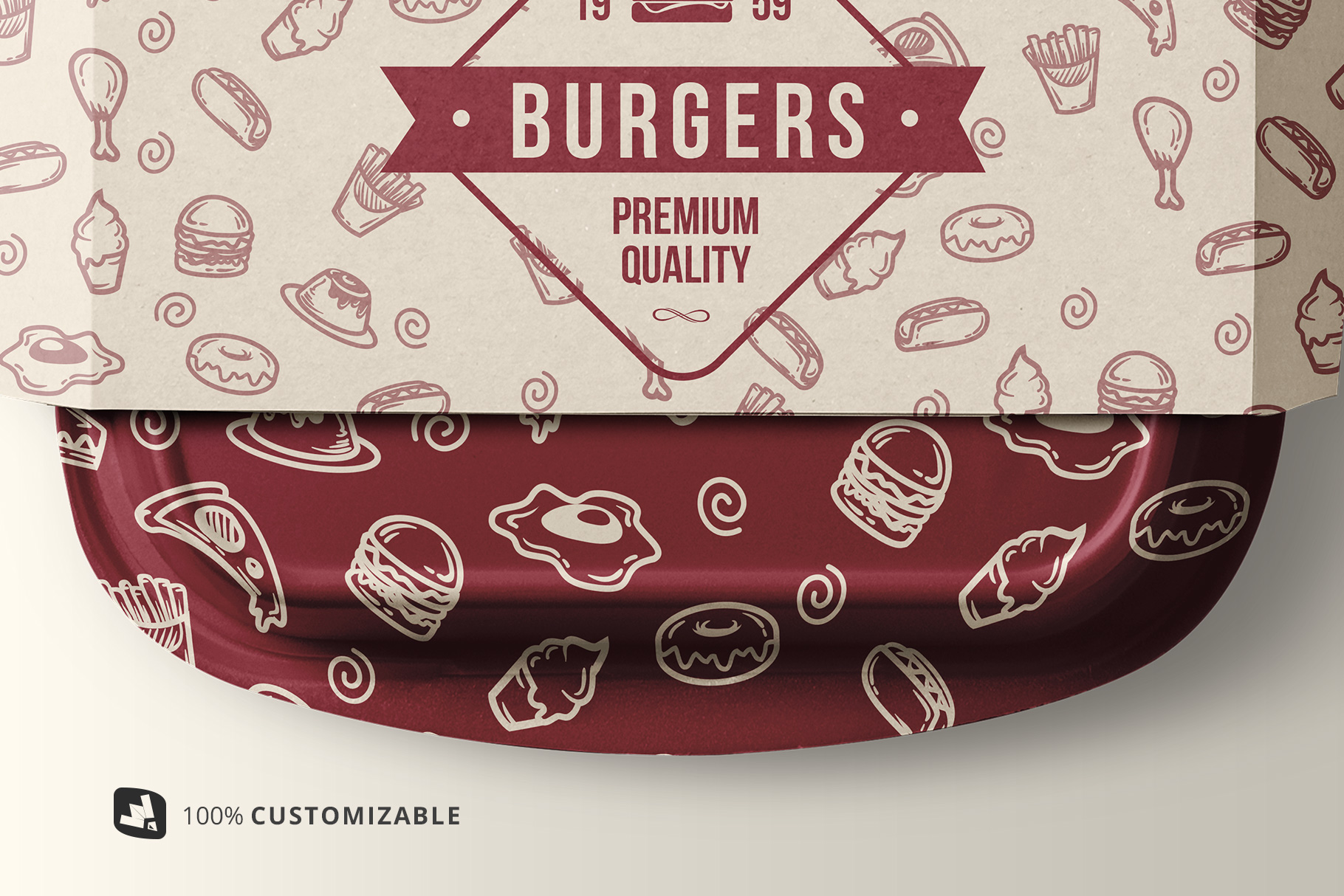 zoomed in image of the fast food container packaging mockup