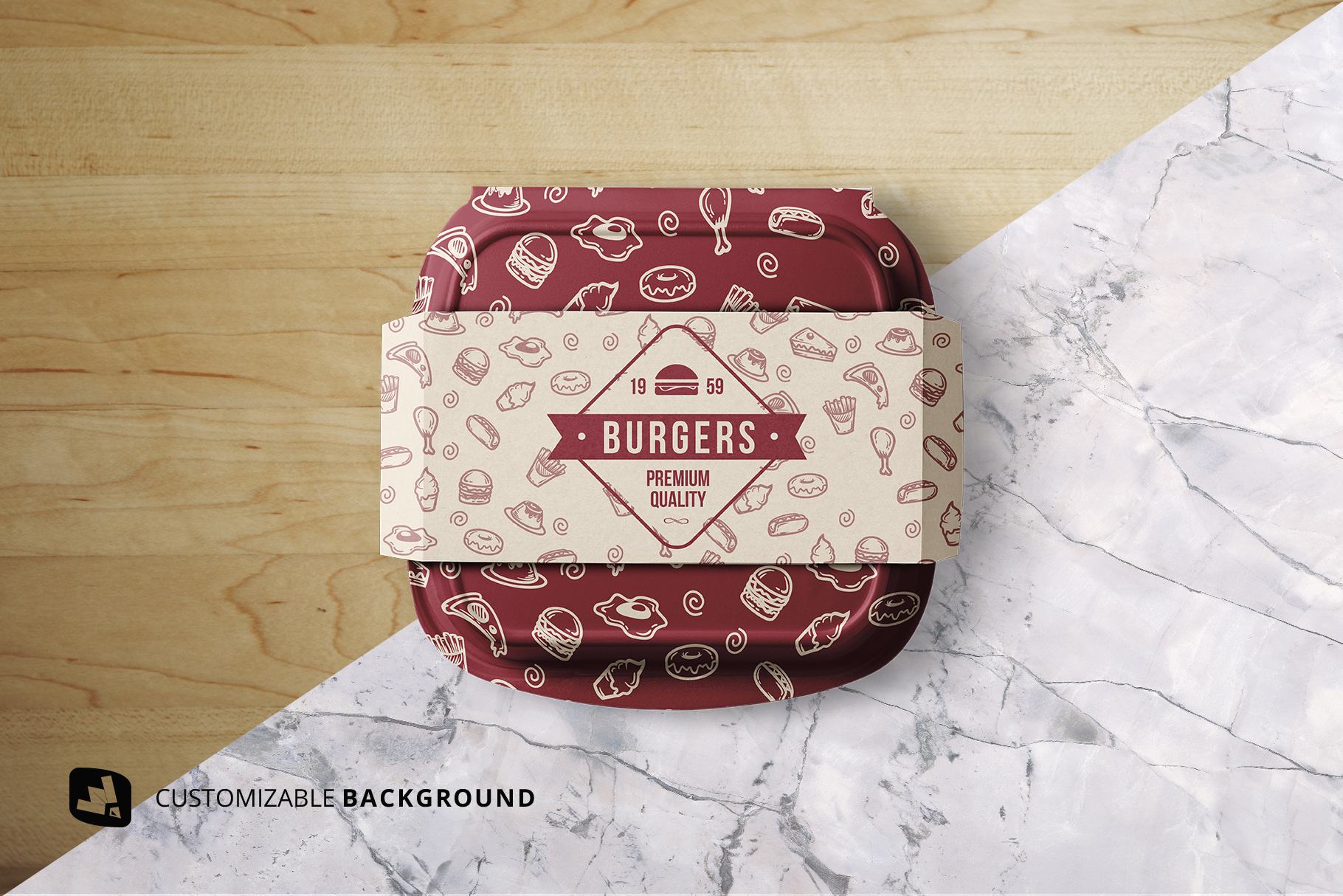 background options of the fast food container packaging mockup