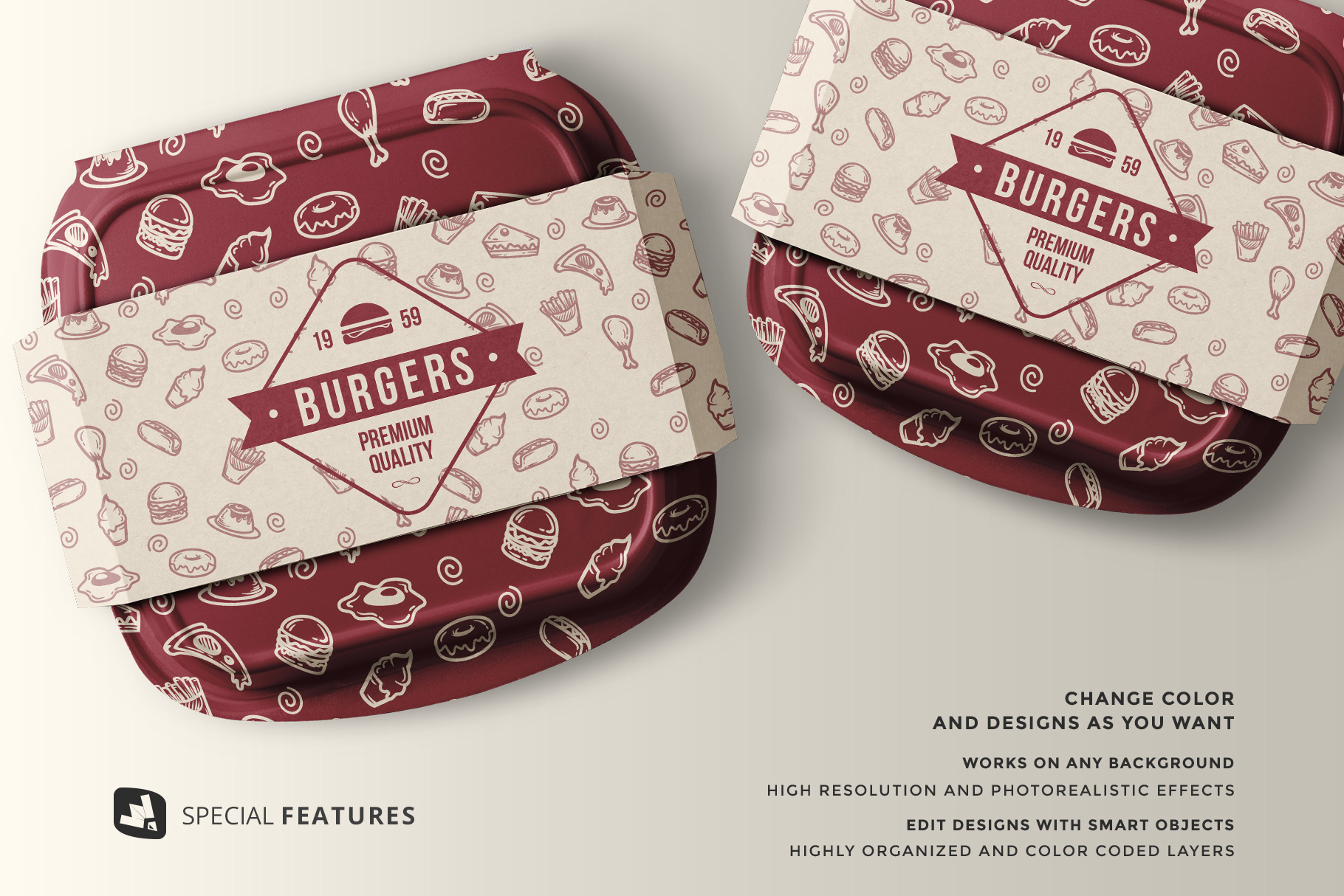 features of the fast food container packaging mockup