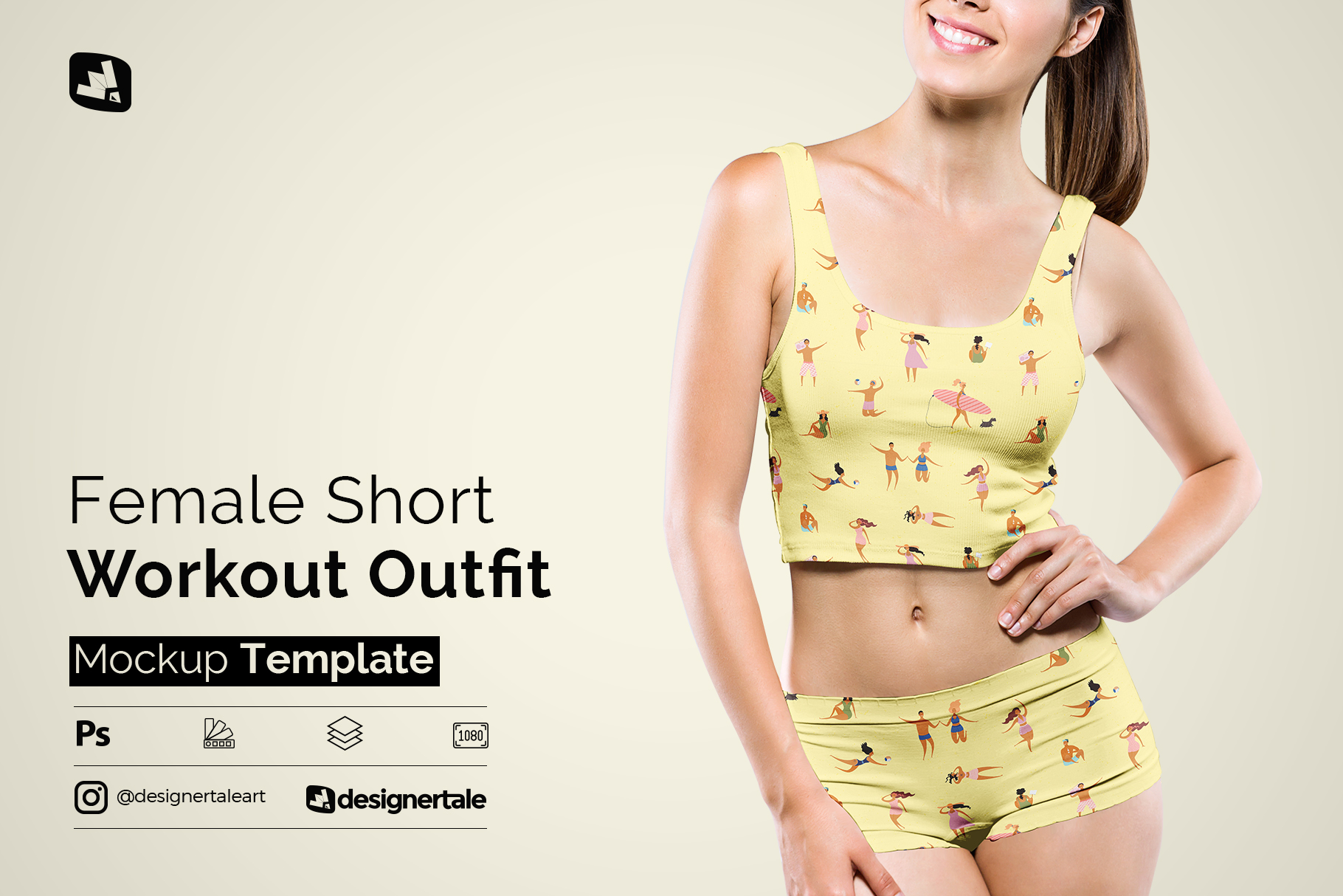 female short workout outfit mockup