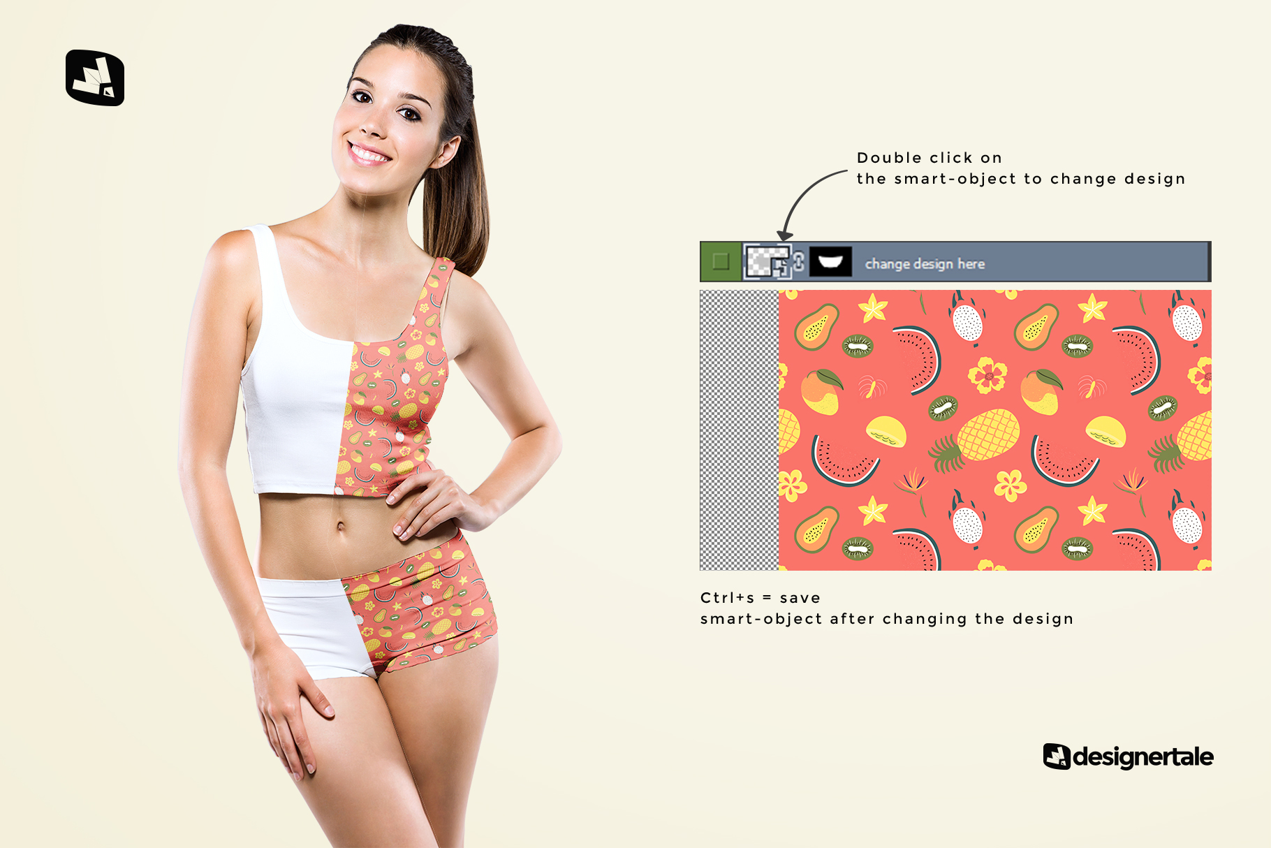 how to change design of the female short workout outfit mockup