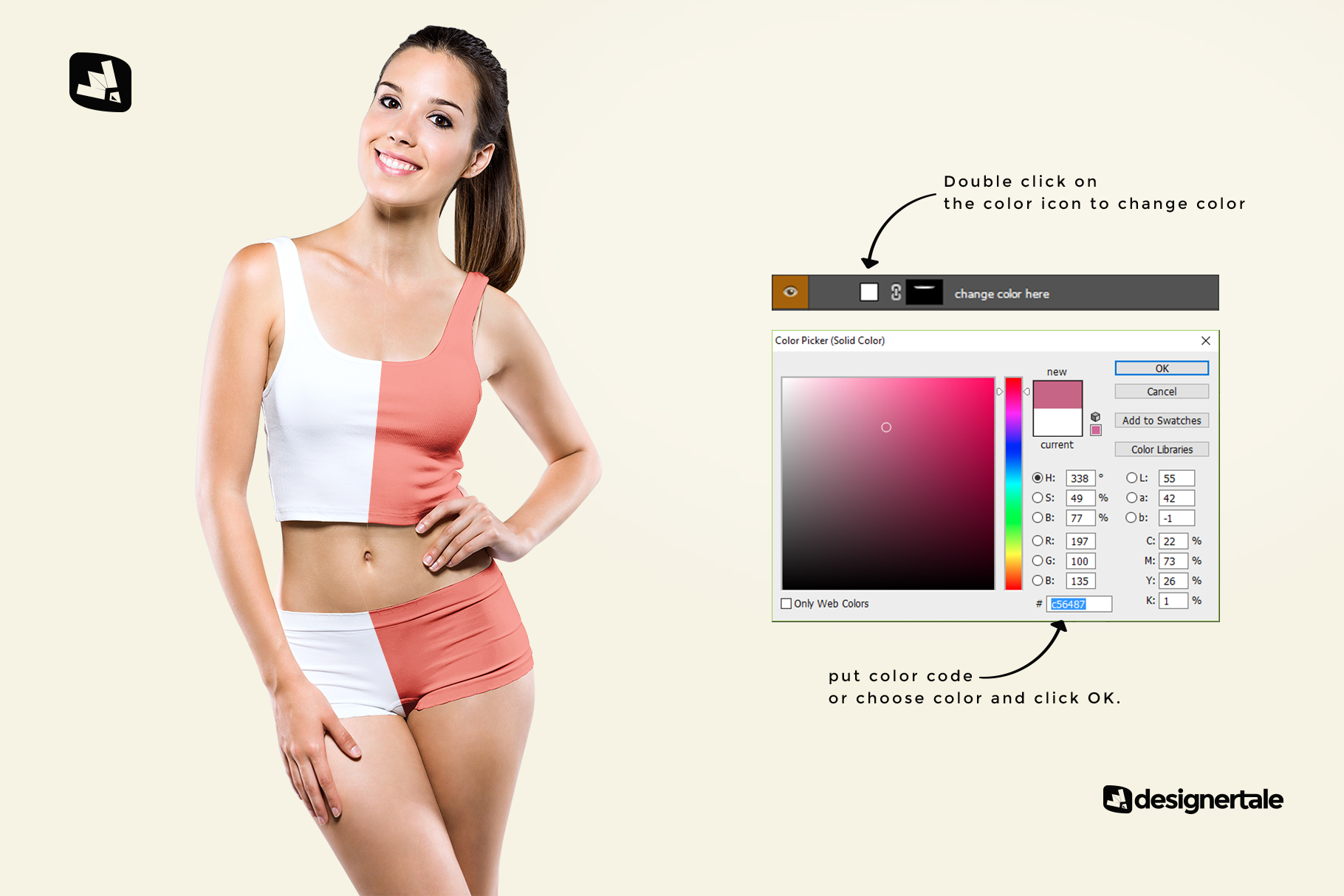 how to change color of the female short workout outfit mockup