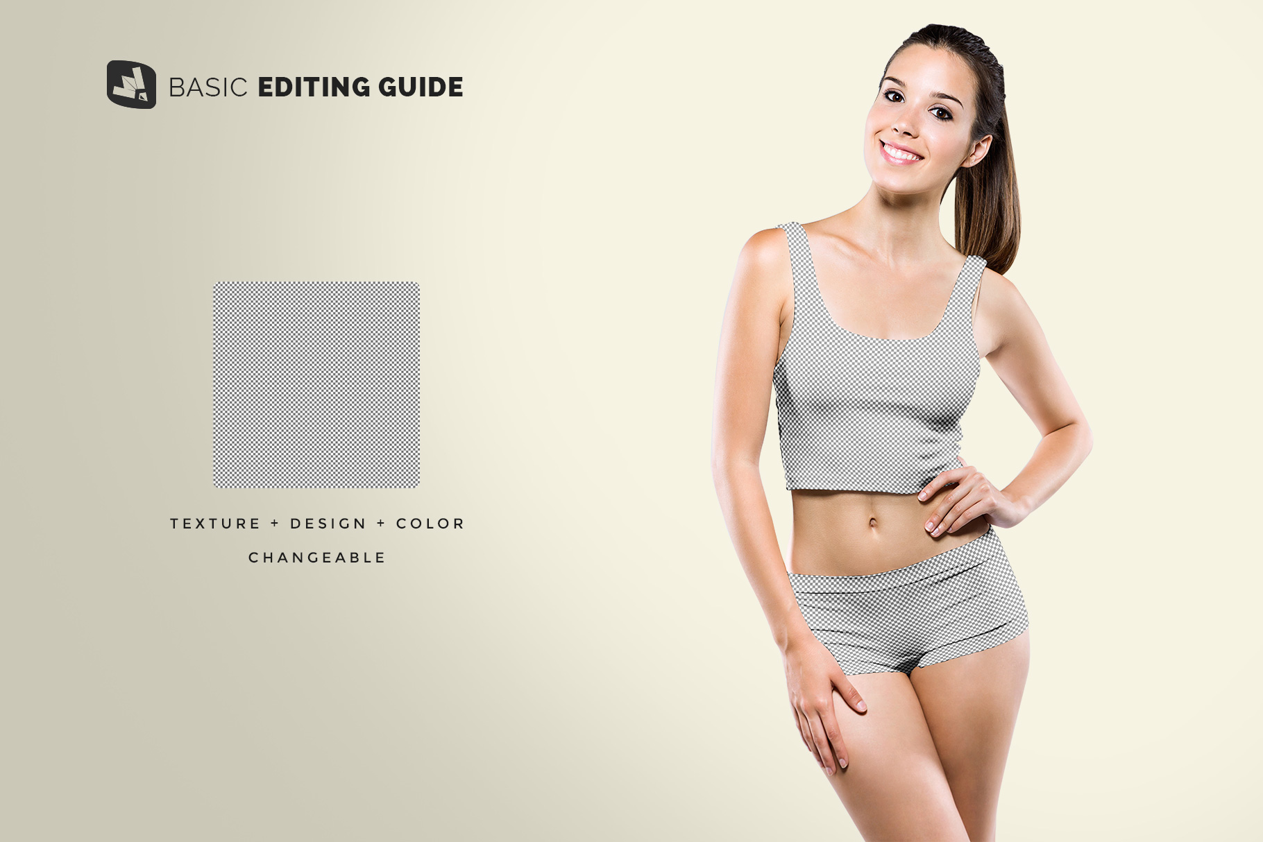 editability of the female short workout outfit mockup