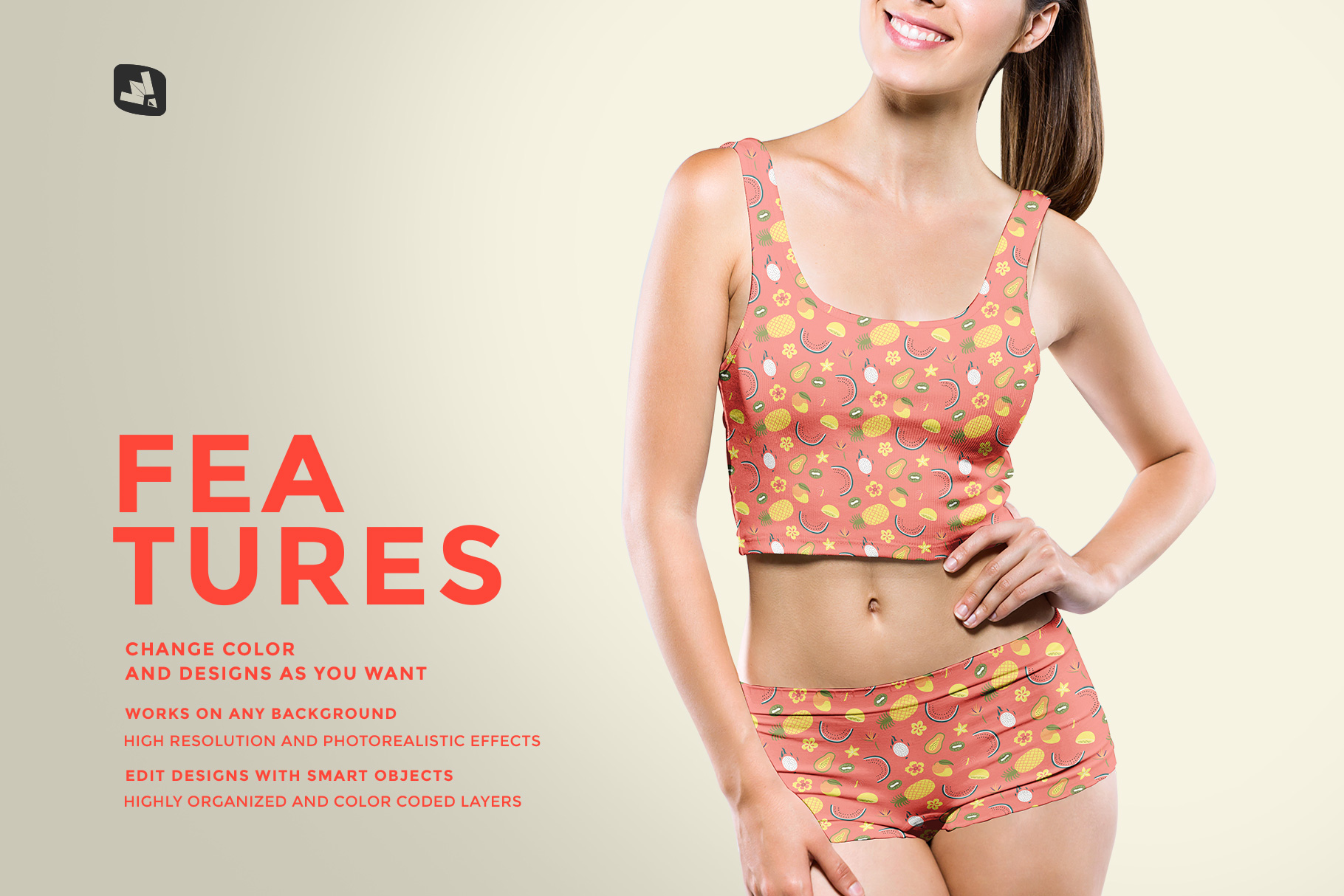 features of the female short workout outfit mockup