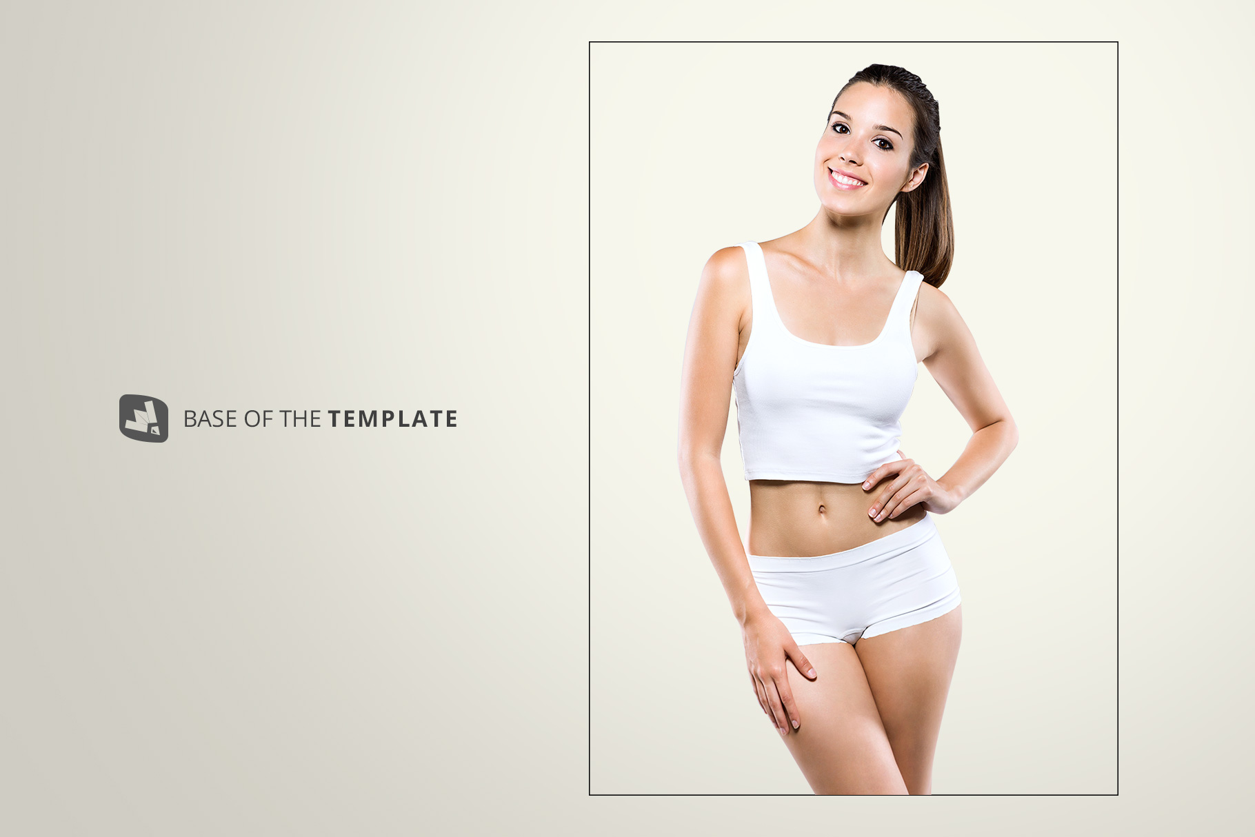 base image of the female short workout outfit mockup