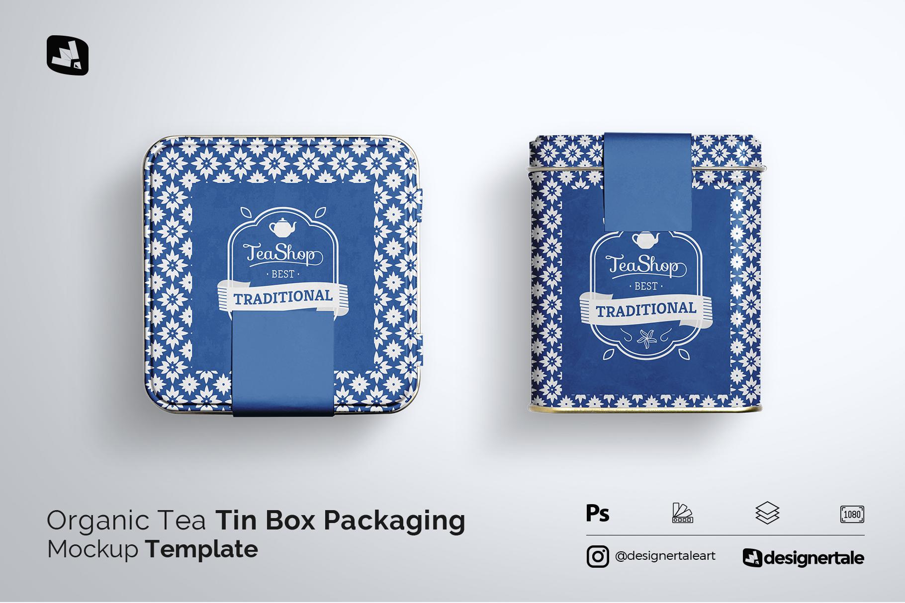 organic tea tin box packaging mockup