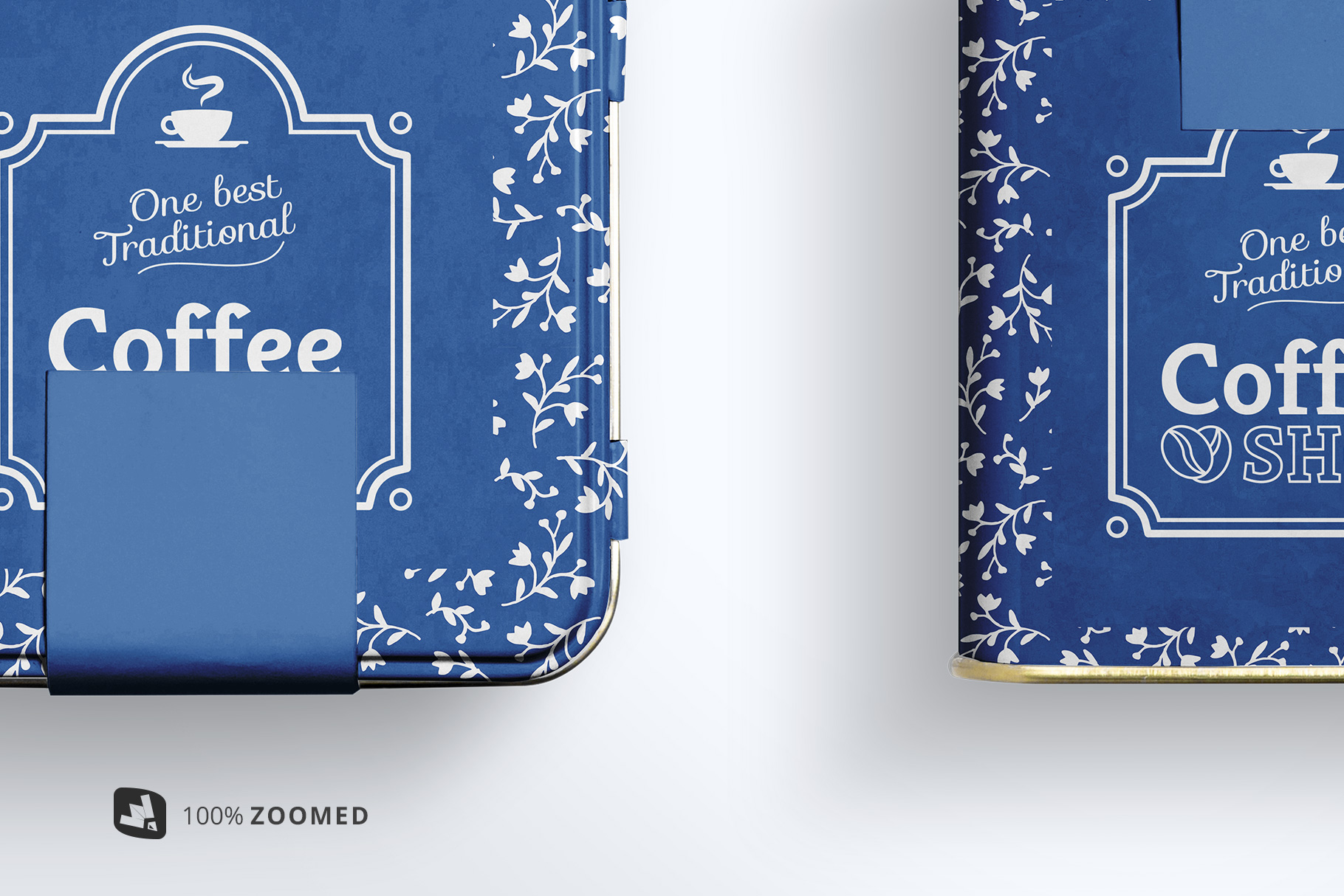zoomed in image of the organic tea tin box packaging mockup